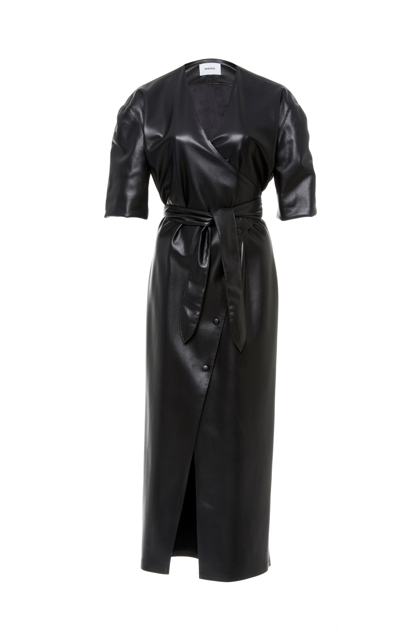 Penelope Vegan Faux Leather Wrap Midi Dress, Black