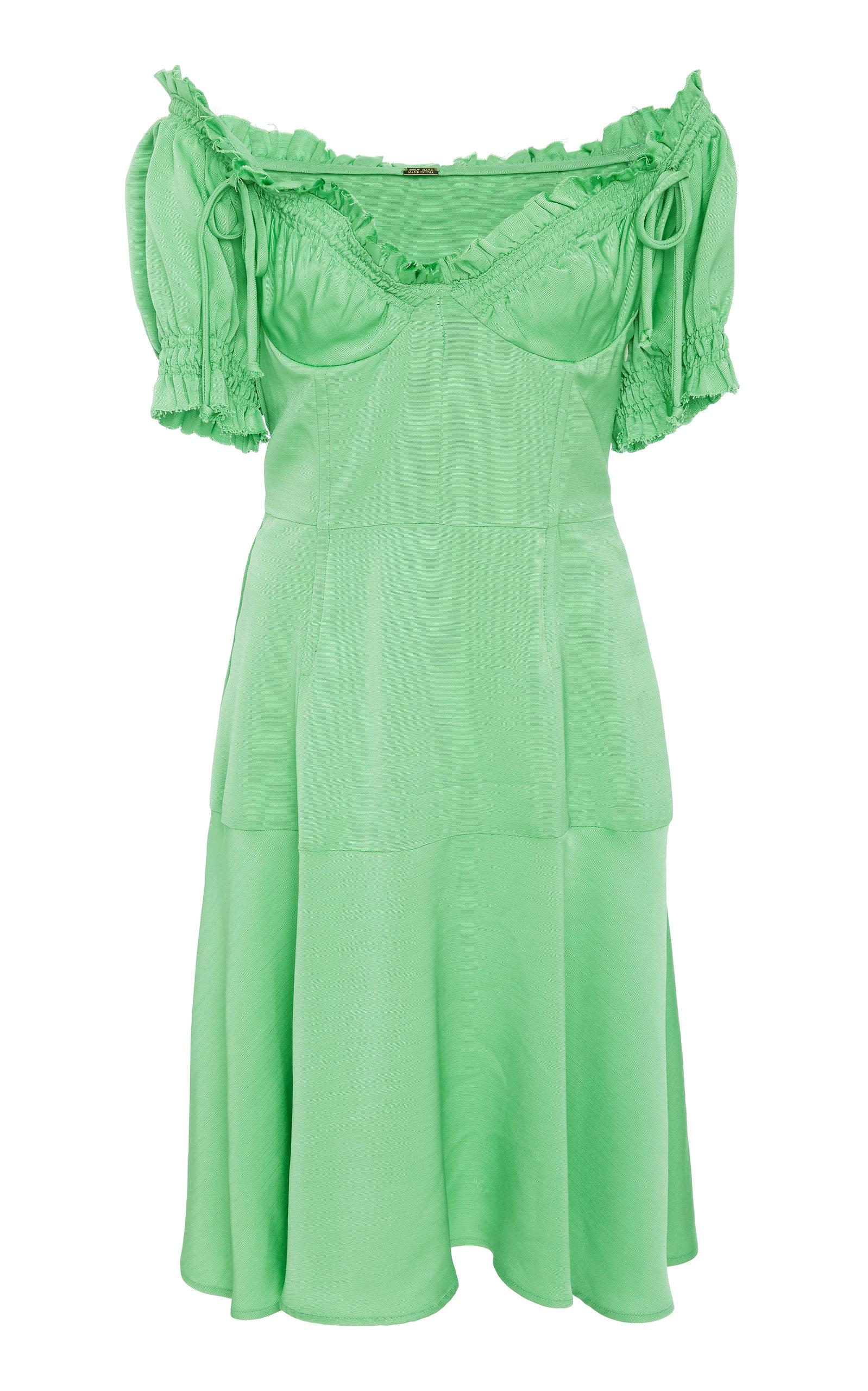 Scarlett Raw Edge Bustier Dress, Green