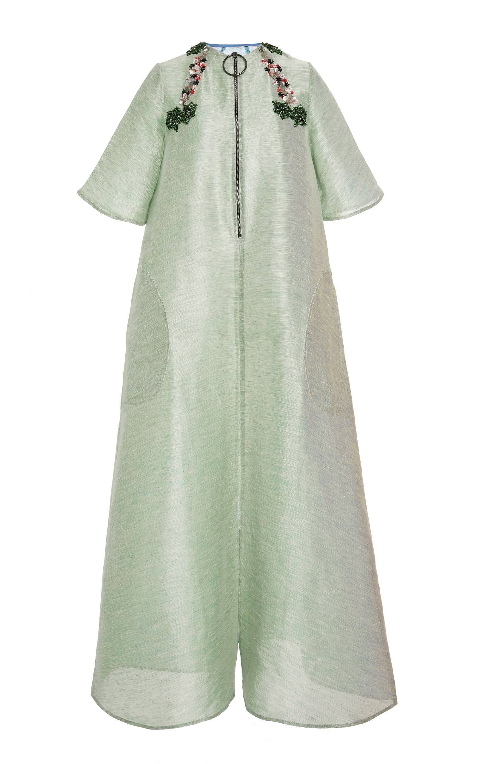 CHADOR EMBELLISHED LINEN-BLEND DRESS