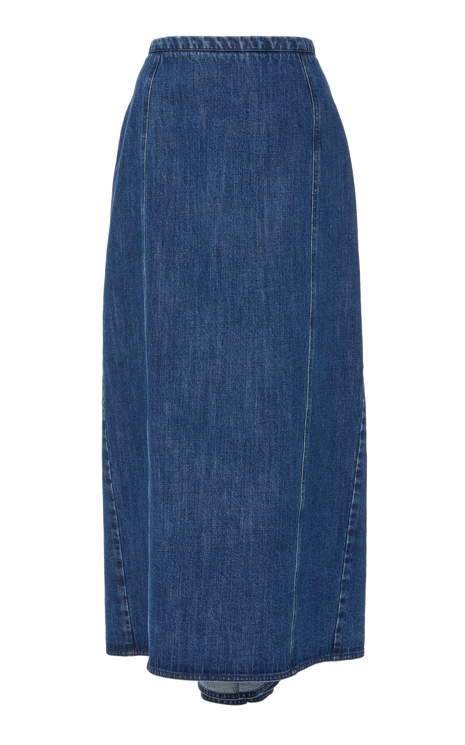 MICHAEL KORS High-Rise Denim Midi Skirt in Blue