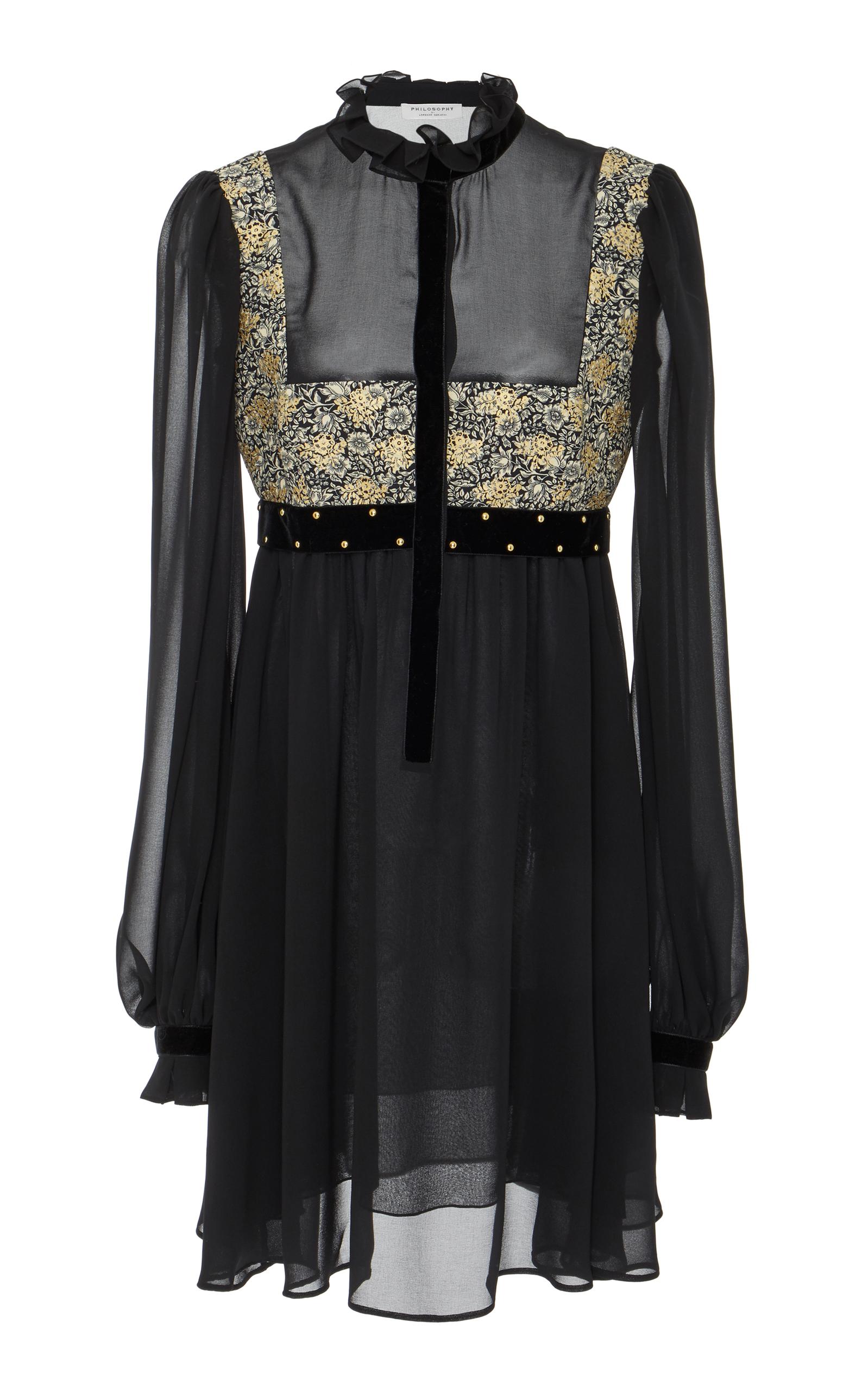 Chiffon Short Dress in Black