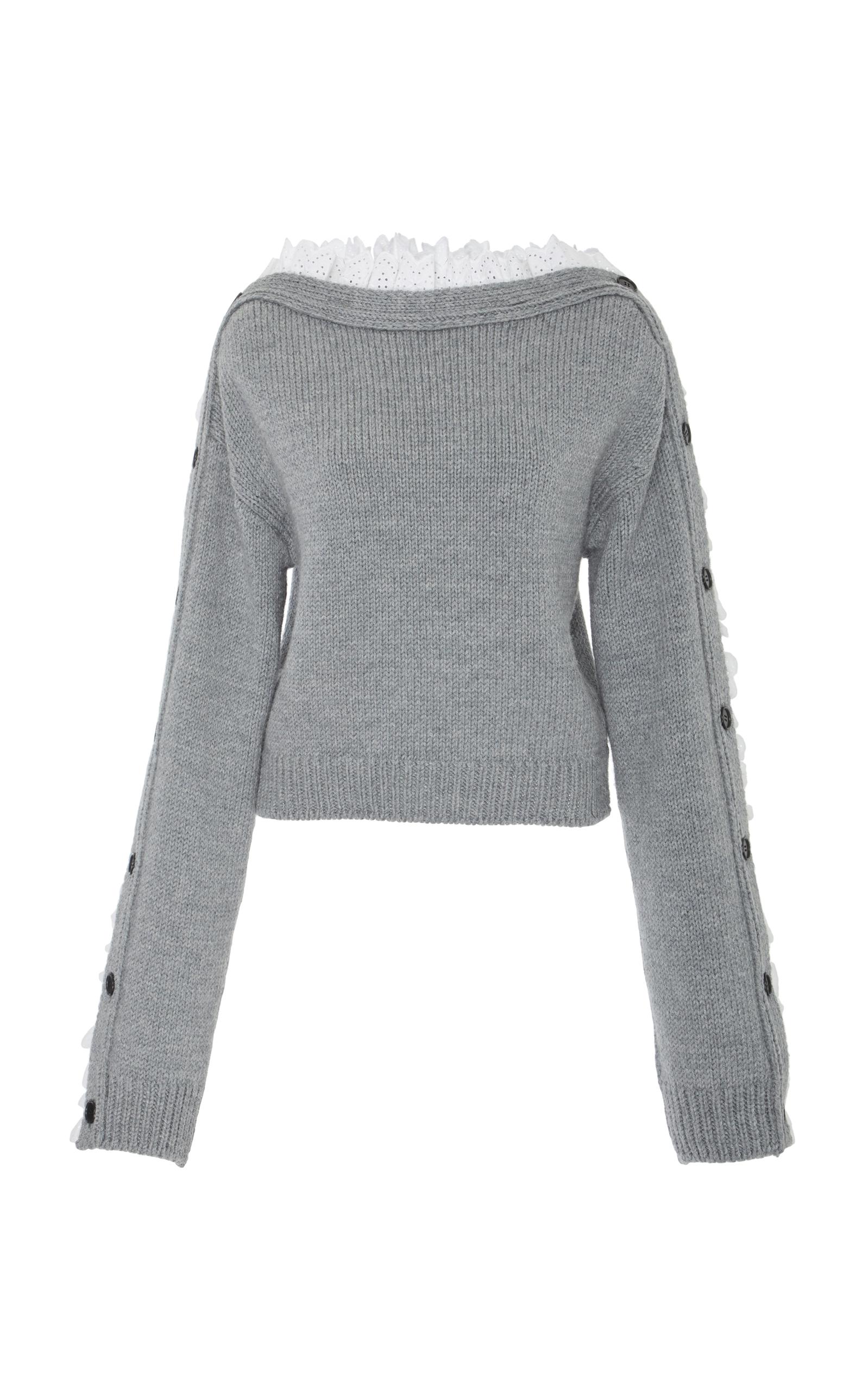 PHILOSOPHY DI LORENZO SERAFINI Lace Trimmed Pullover in Grey