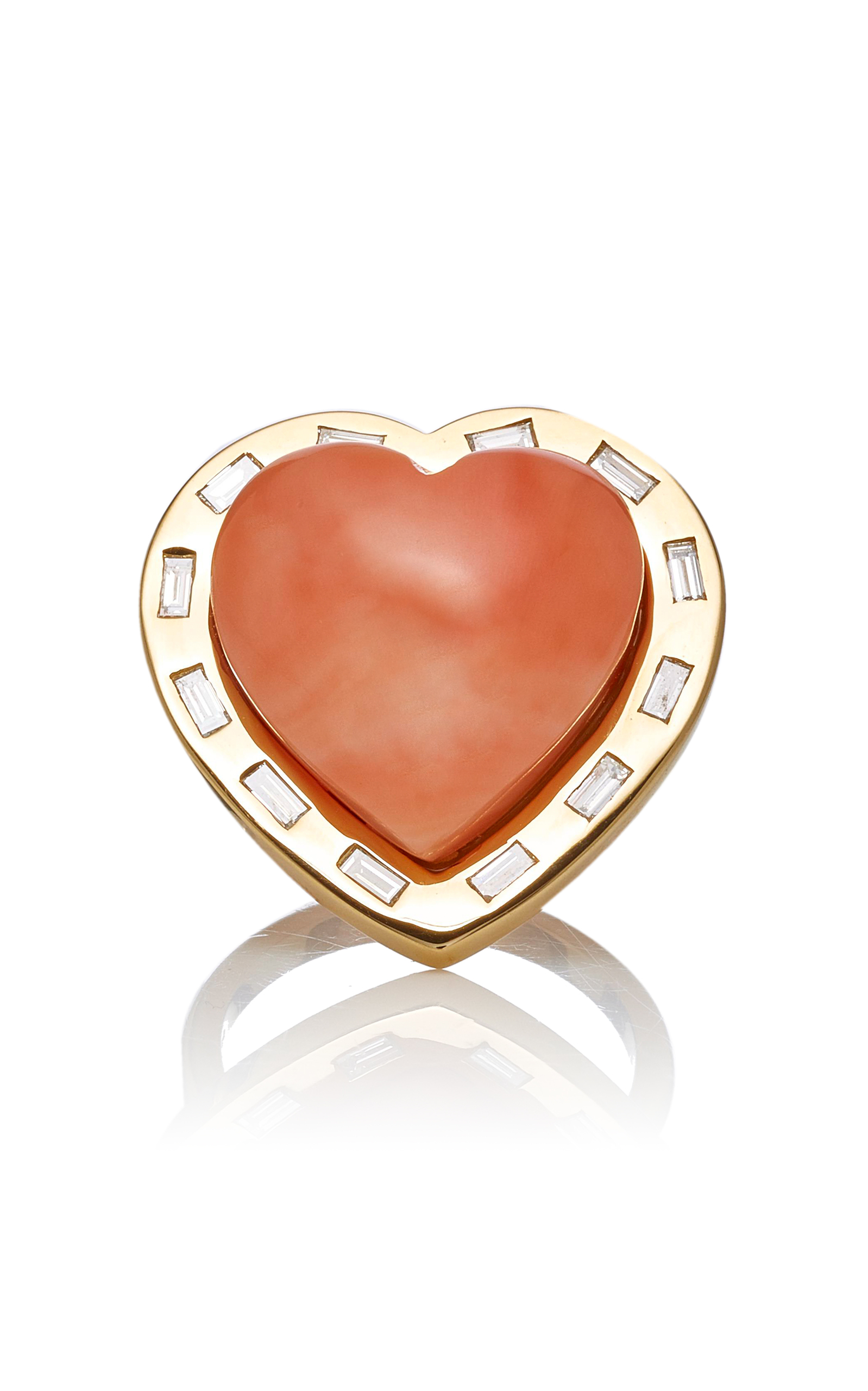 Brent Neale  LARGE PUFF HEART 18K GOLD CORAL AND DIAMOND RING