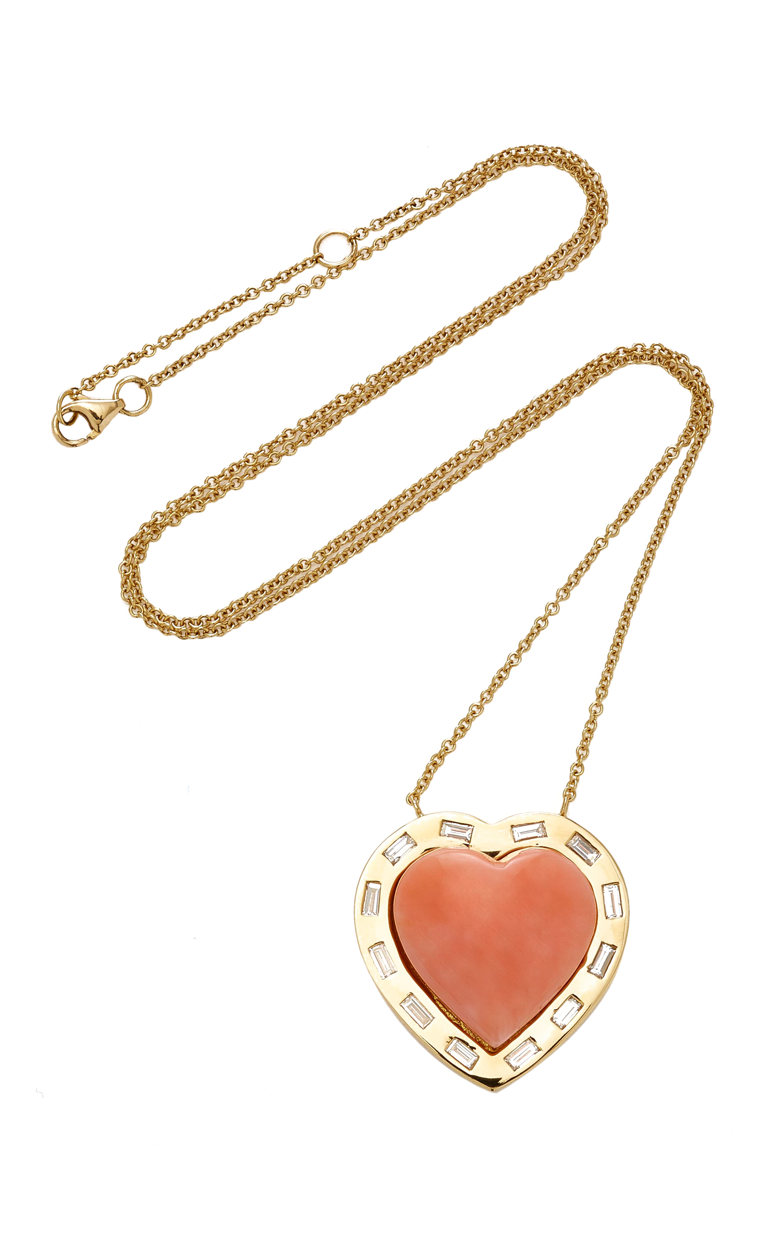 Brent Neale  LARGE PUFF HEART CORAL DIAMOND PENDANT 18K GOLD NECKLACE