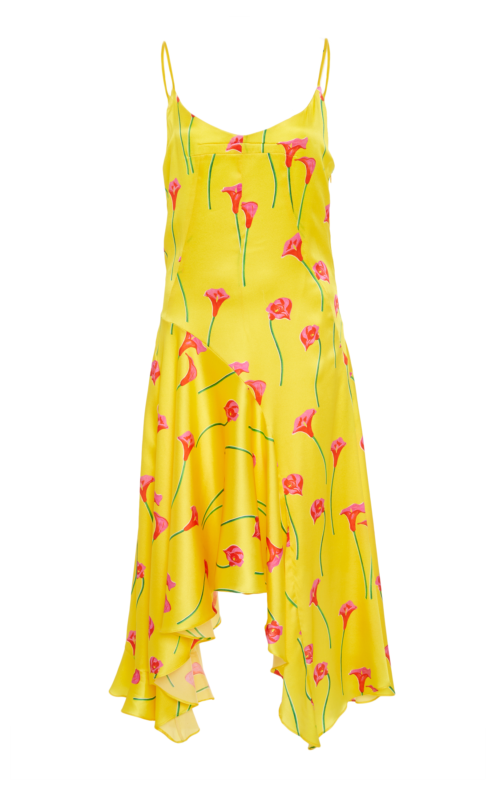CAROLINE CONSTAS Marie Floral-Print Asymmetric Slip Dress in Yellow