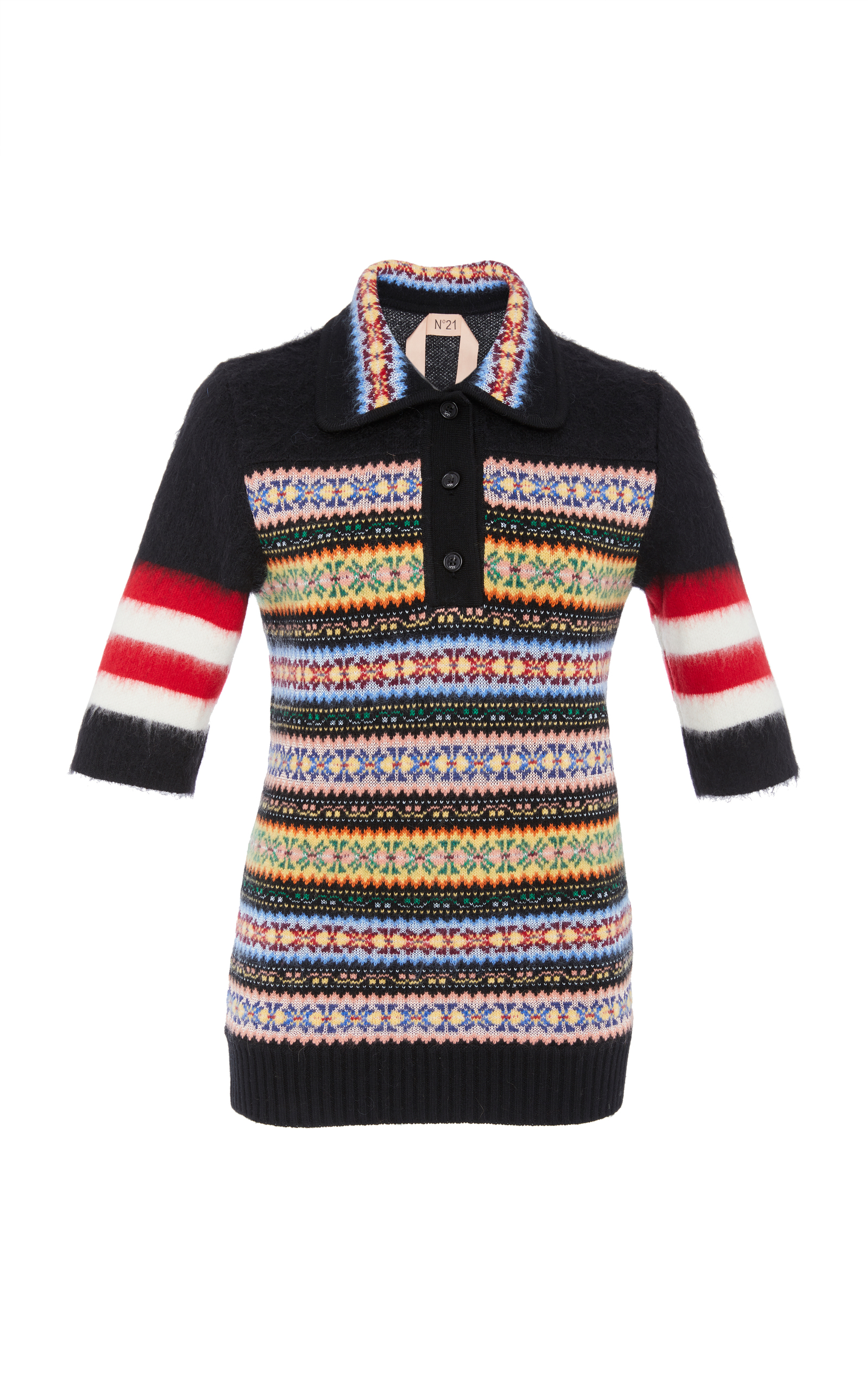 No. 21 - Patterned Wool Blend Polo Shirt - Womens - Multi