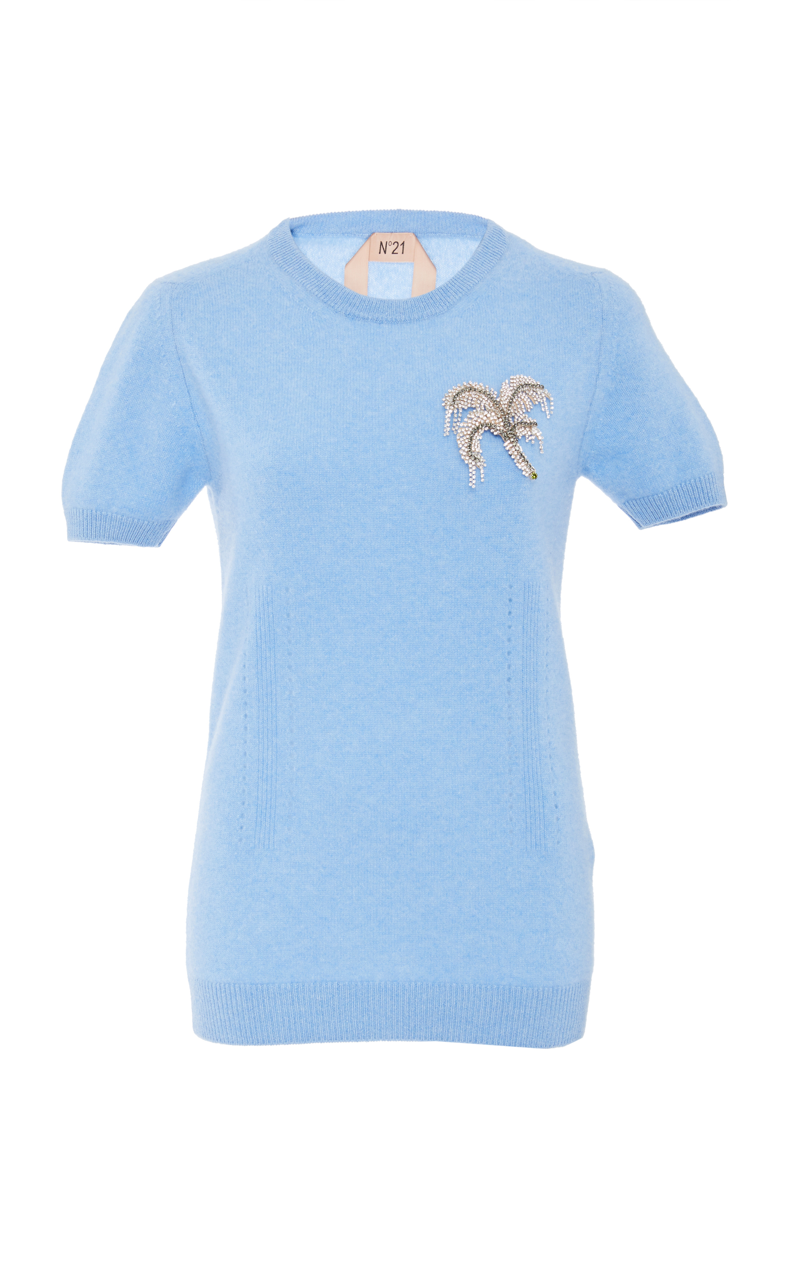 No. 21 - Crystal Appliqué Cashmere Sweater - Womens - Light Blue