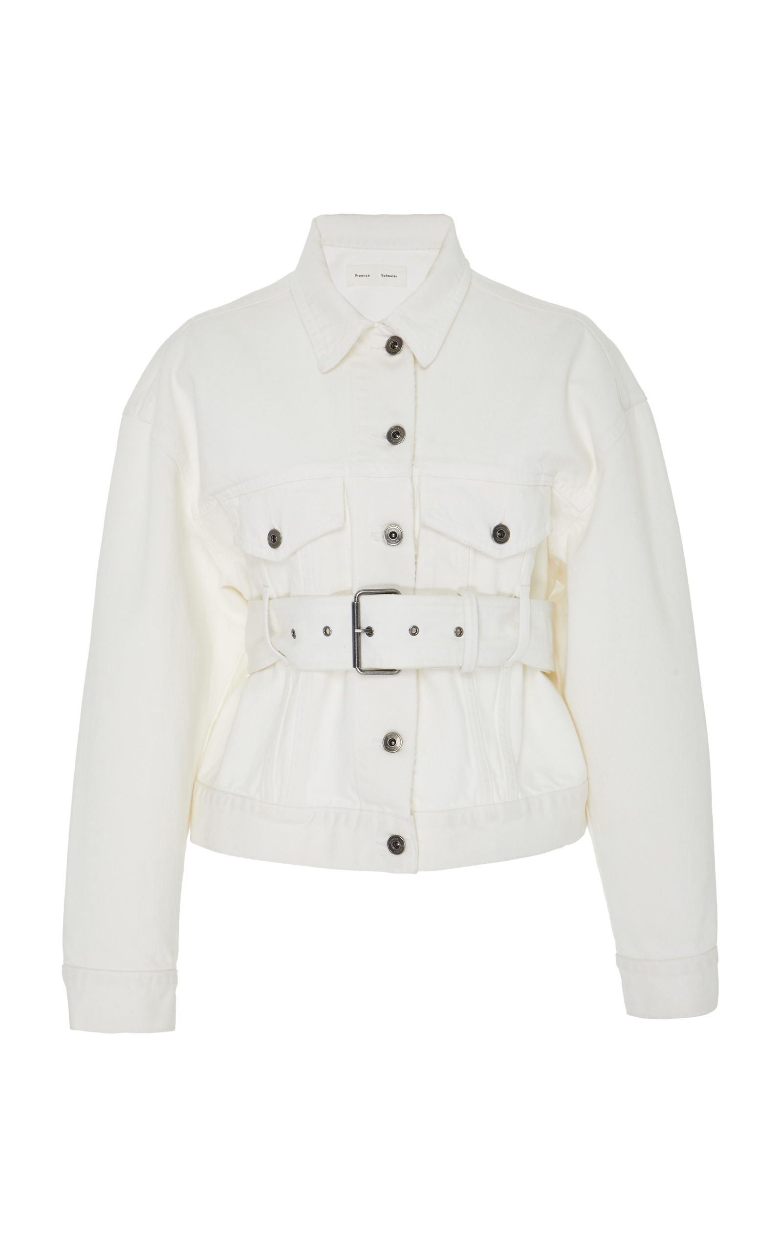Pswl Belted Button-Down Denim Jackets in White