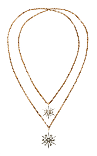TONI + CHLOË GOUTAL | Toni + Chloë Goutal Ava One-Of-A-Kind Antique Gold And Diamond Double Necklace | Goxip