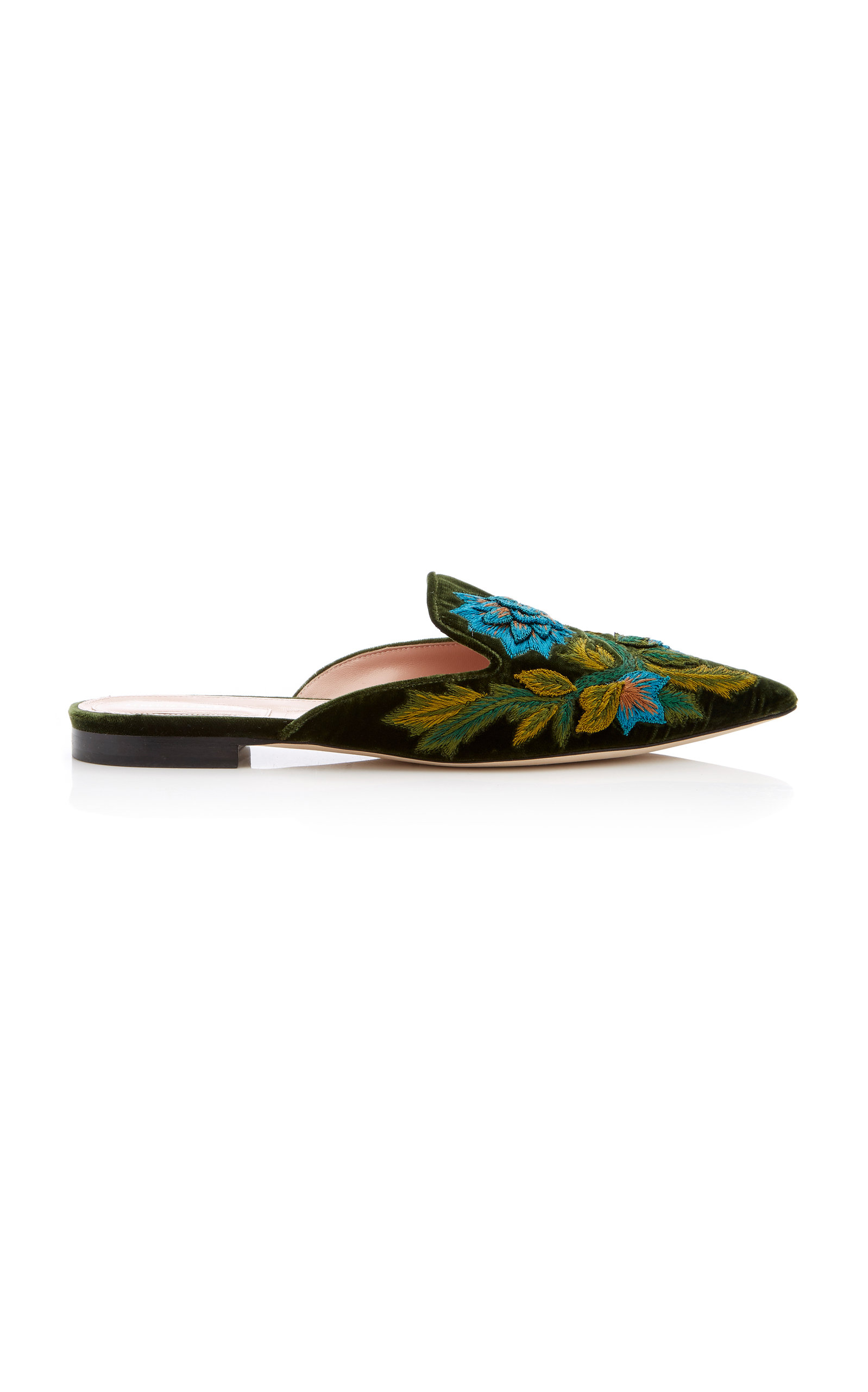 Embroidered Pointed Mules, Green