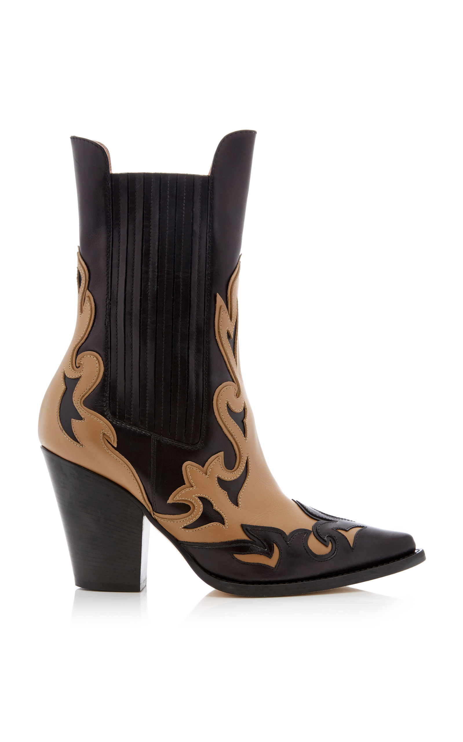 Two Tone Cowboy Boots, Black