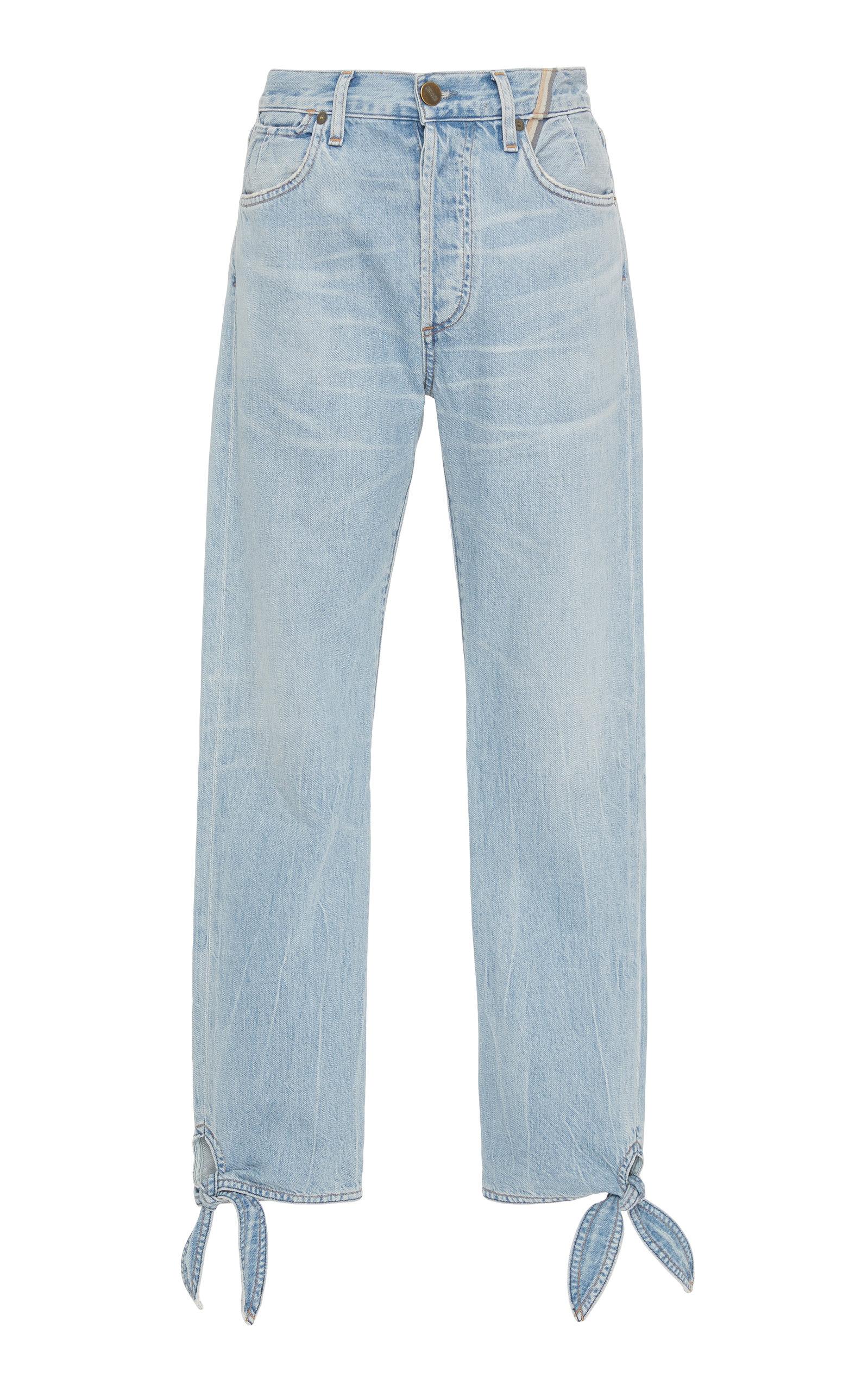 JEAN ATELIER Hunter Ankle Tie Cropped Jeans Denim in Light Wash