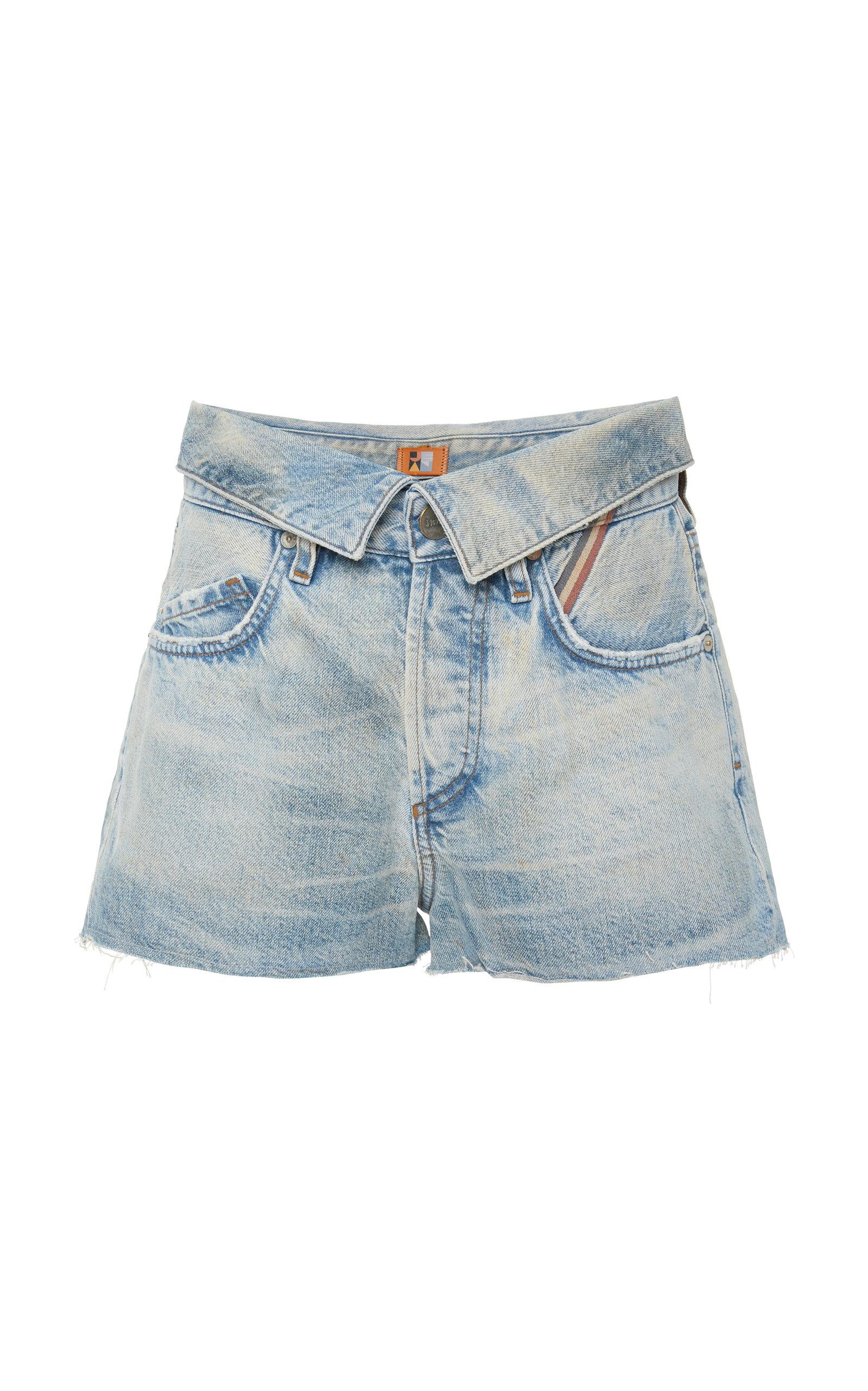 JEAN ATELIER Fold-Over Denim Shorts in Dusty Rose