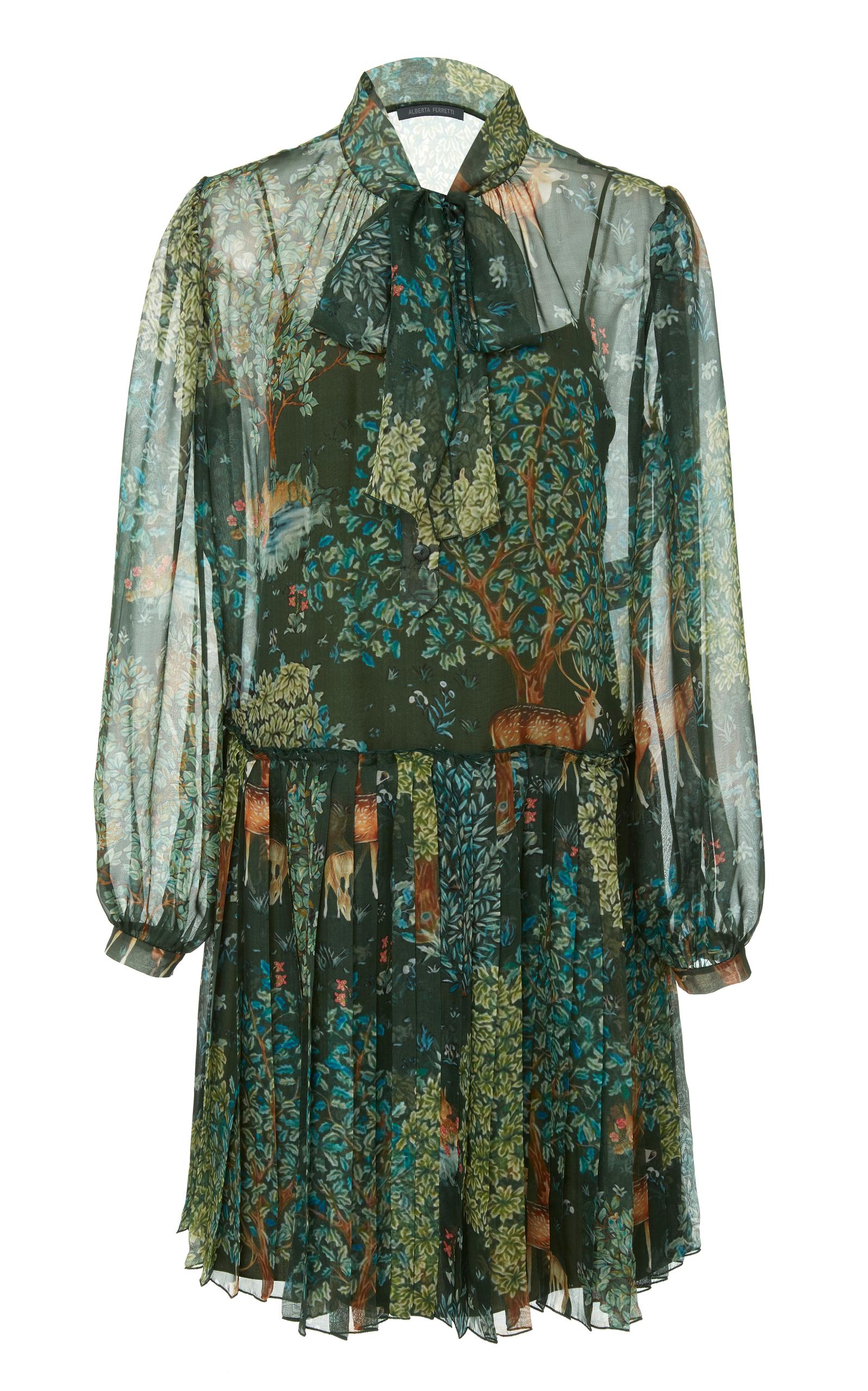 Silk Mini Dress, Green