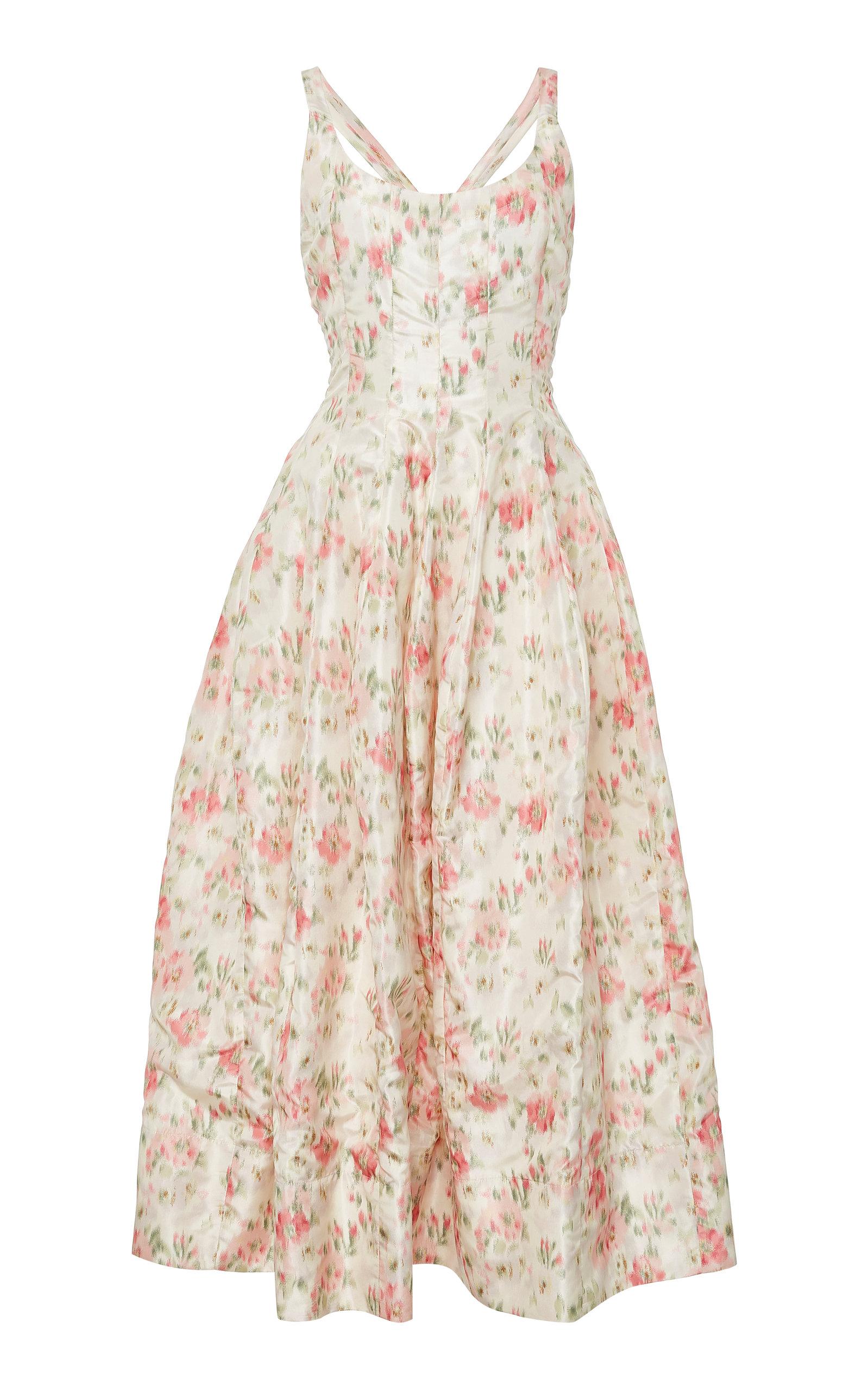 Brock Collection DAPHNE FLORAL-PRINT SILK-CHARMEUSE DRESS