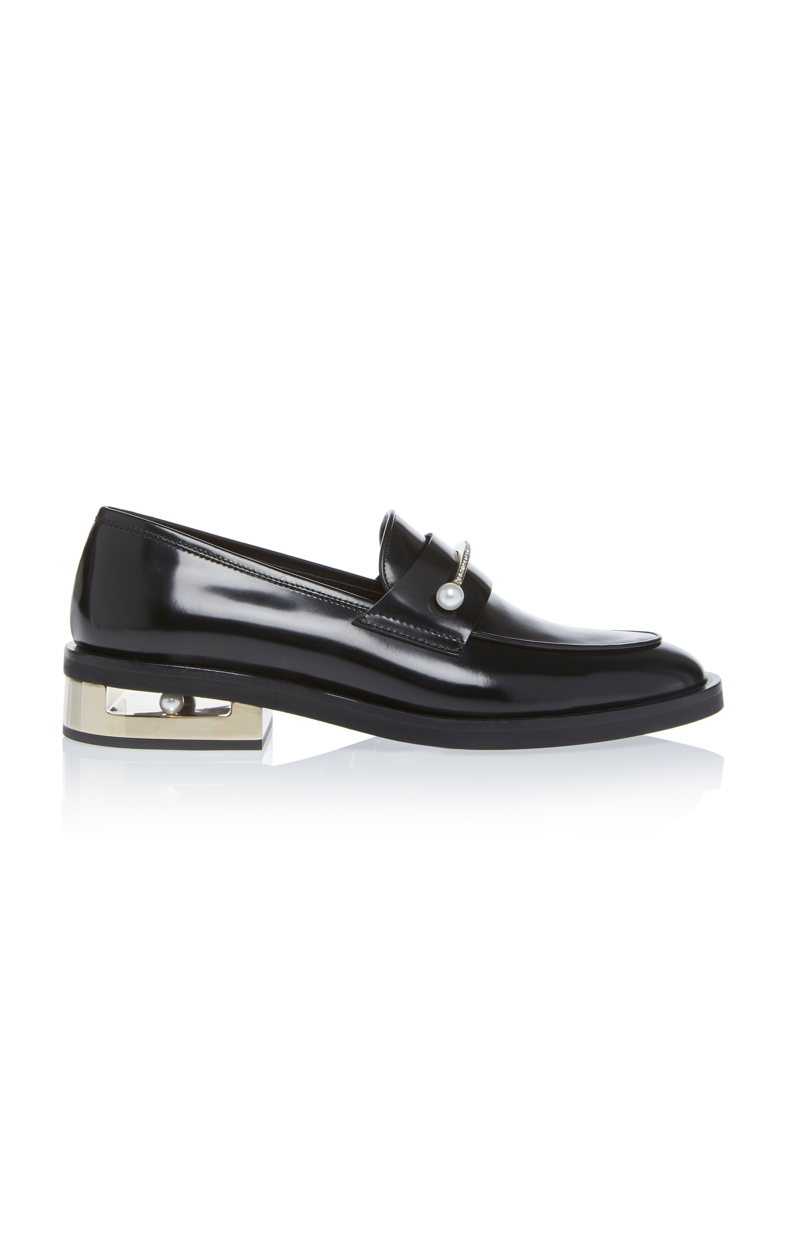Abby Black Leather Loafer With Jewel