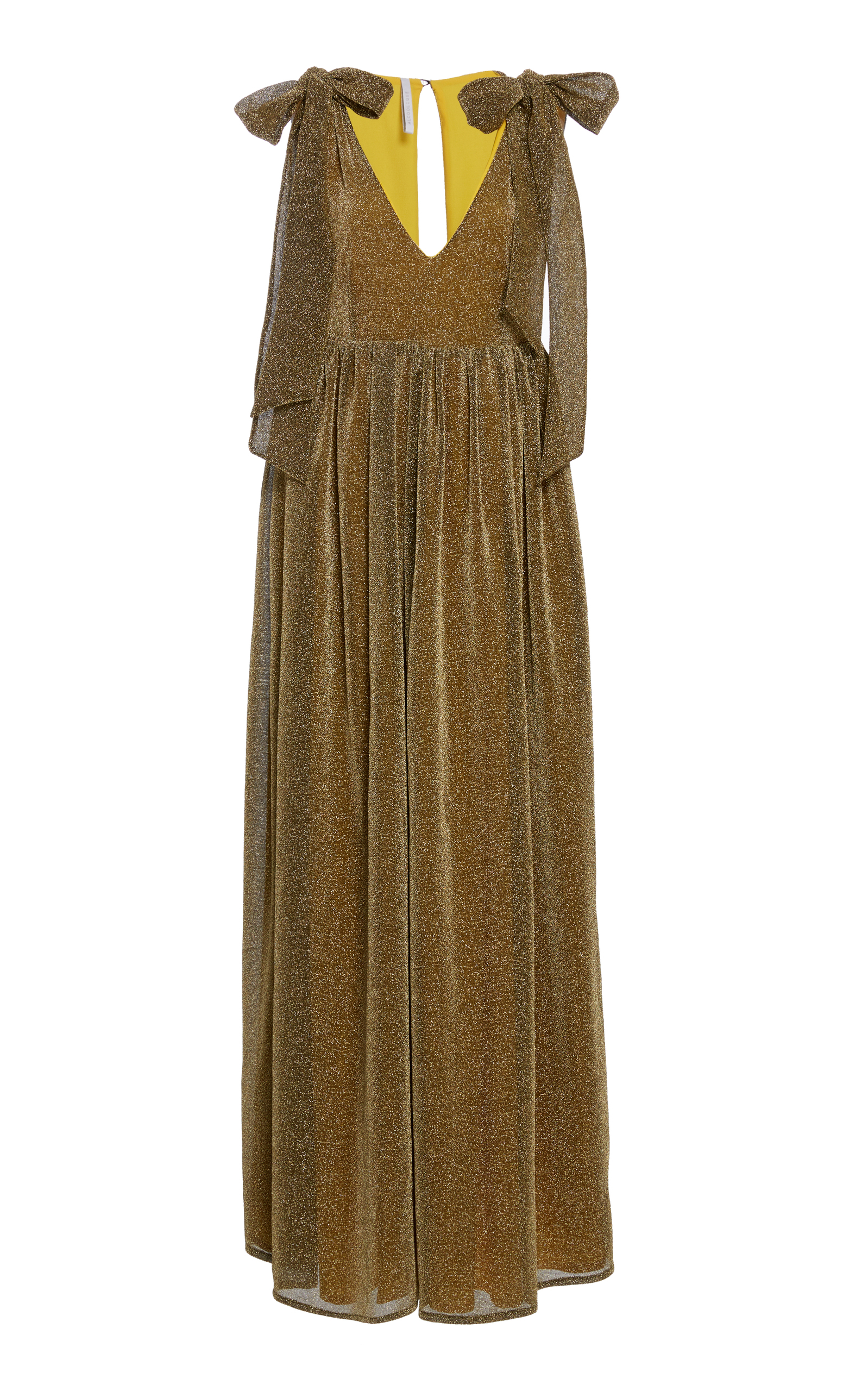 ALCOOLIQUE Vita Long Dress With Bow On Shoulder in Gold