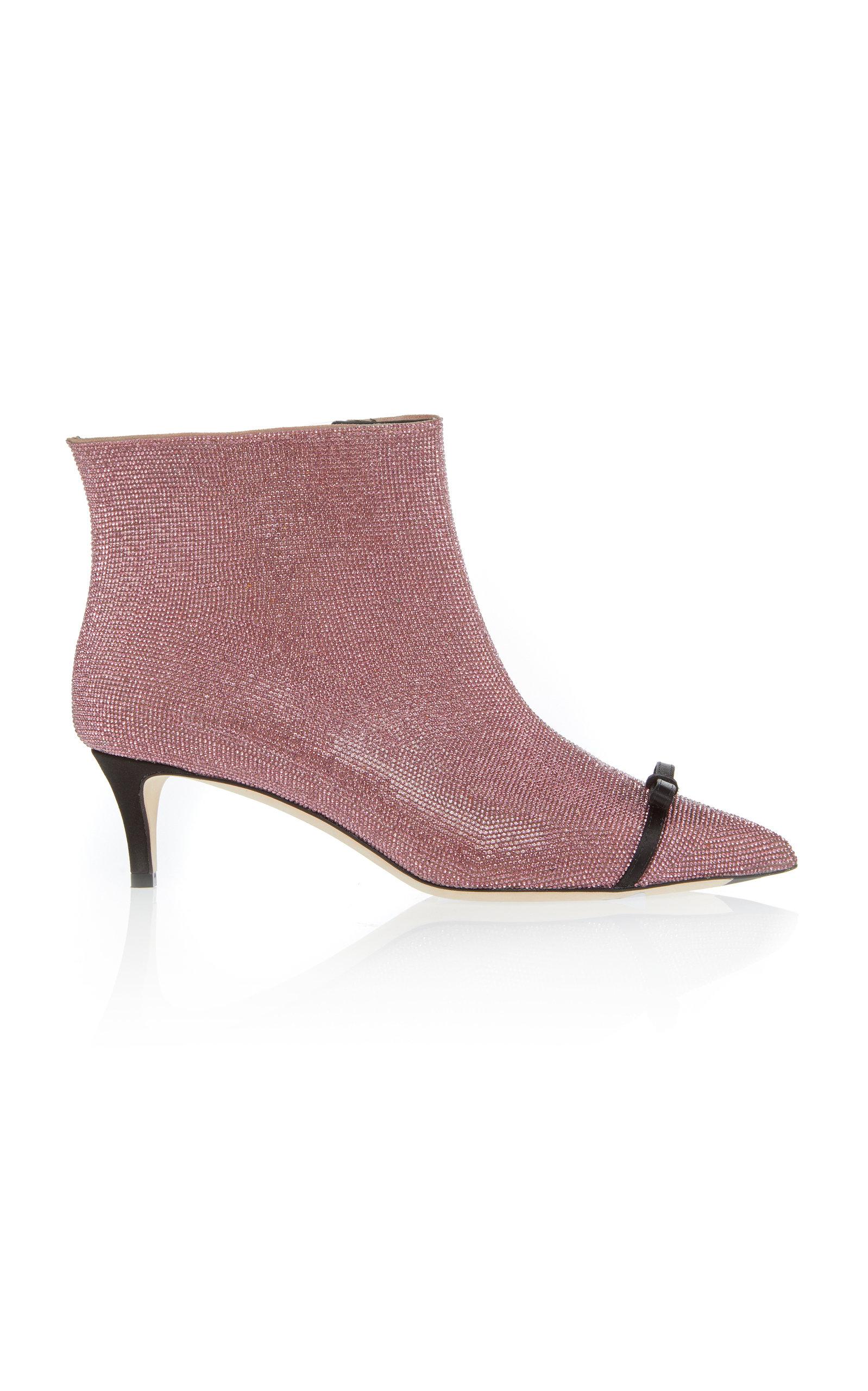 Crystal-Embellished Ankle Boots, Purple