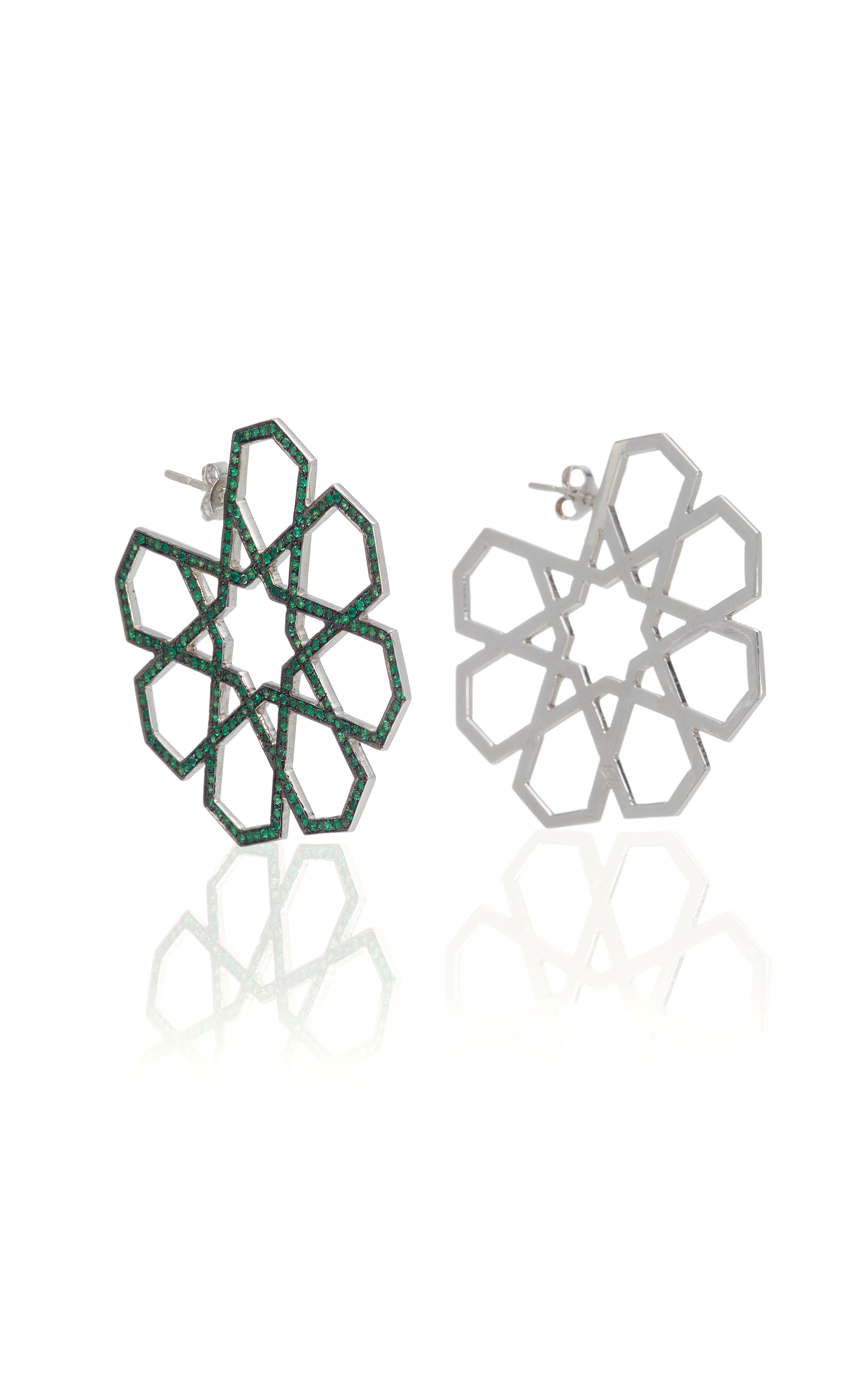 RALPH MASRI M'O Exclusive Arabesque Emerald Earrings in Green