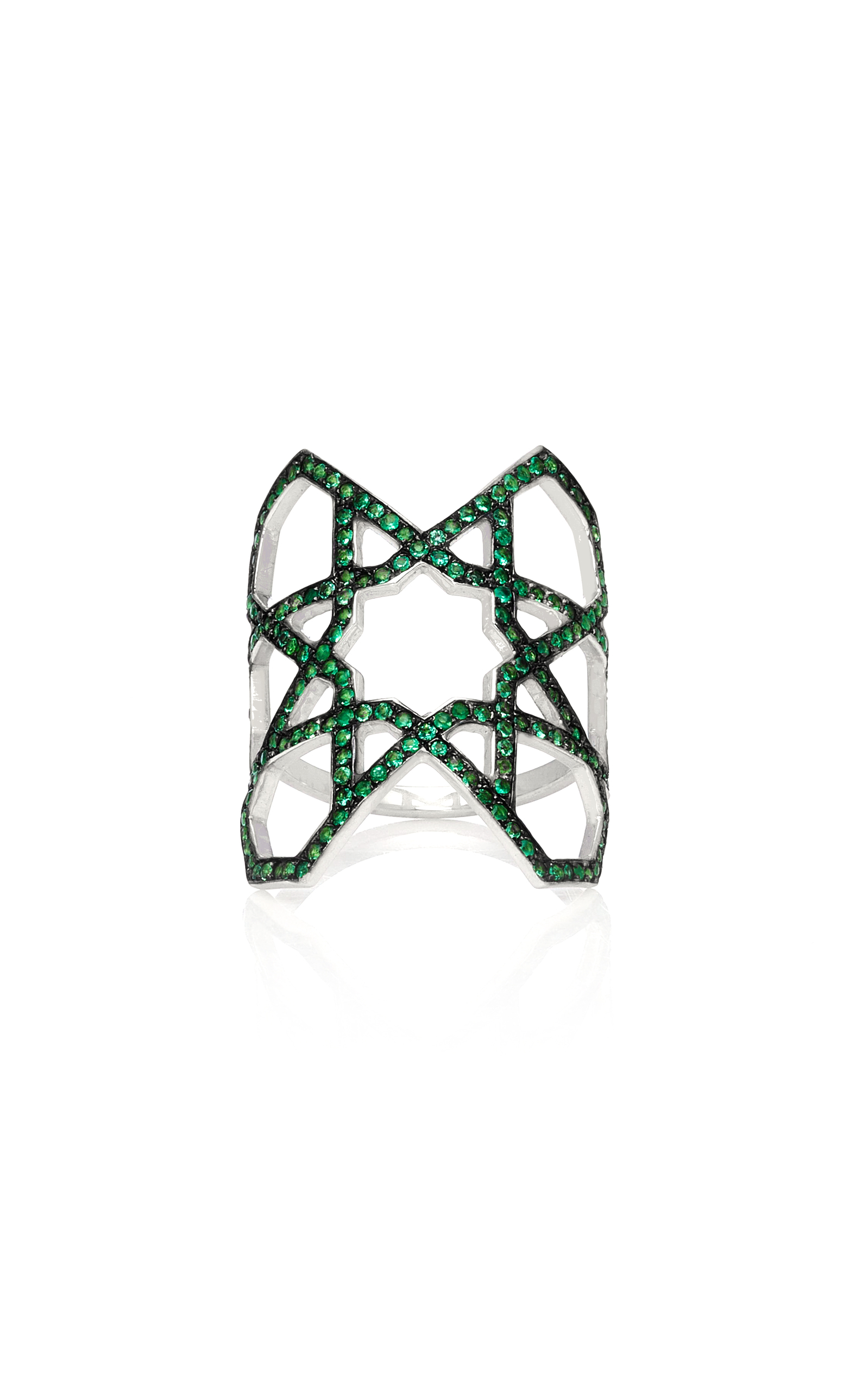RALPH MASRI M'O Exclusive Arabesque Emerald Ring in Green