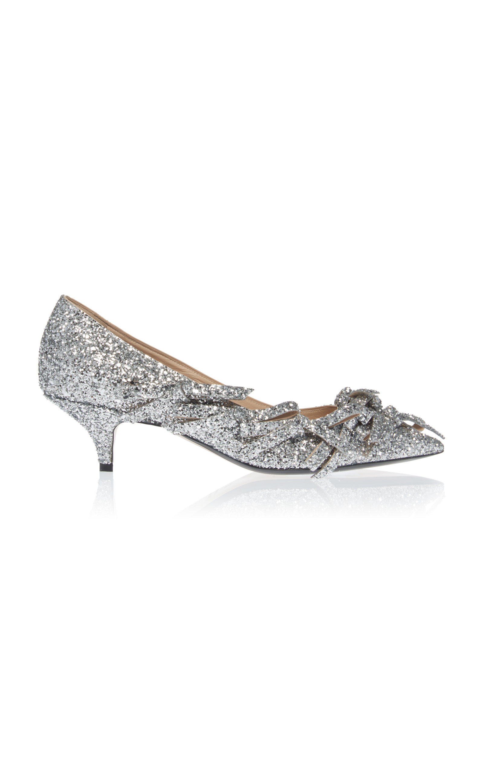 No. 21 - Bow Embellished Glittered Leather Pumps - Womens - Silver in Metallic