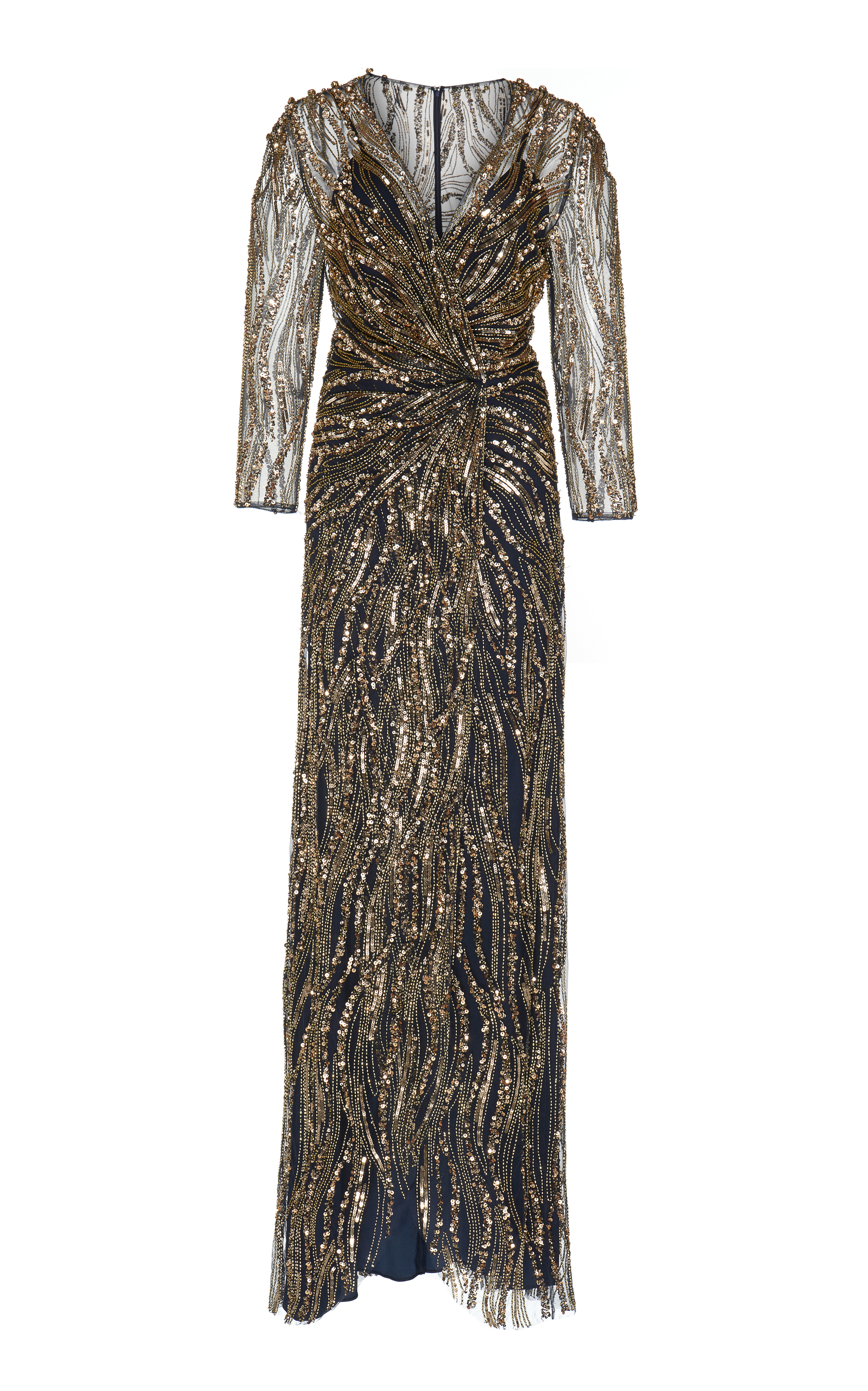 f8ebbadc9d5 Jenny PackhamPhoenix Beaded Long-Sleeved Gown. CLOSE. Loading