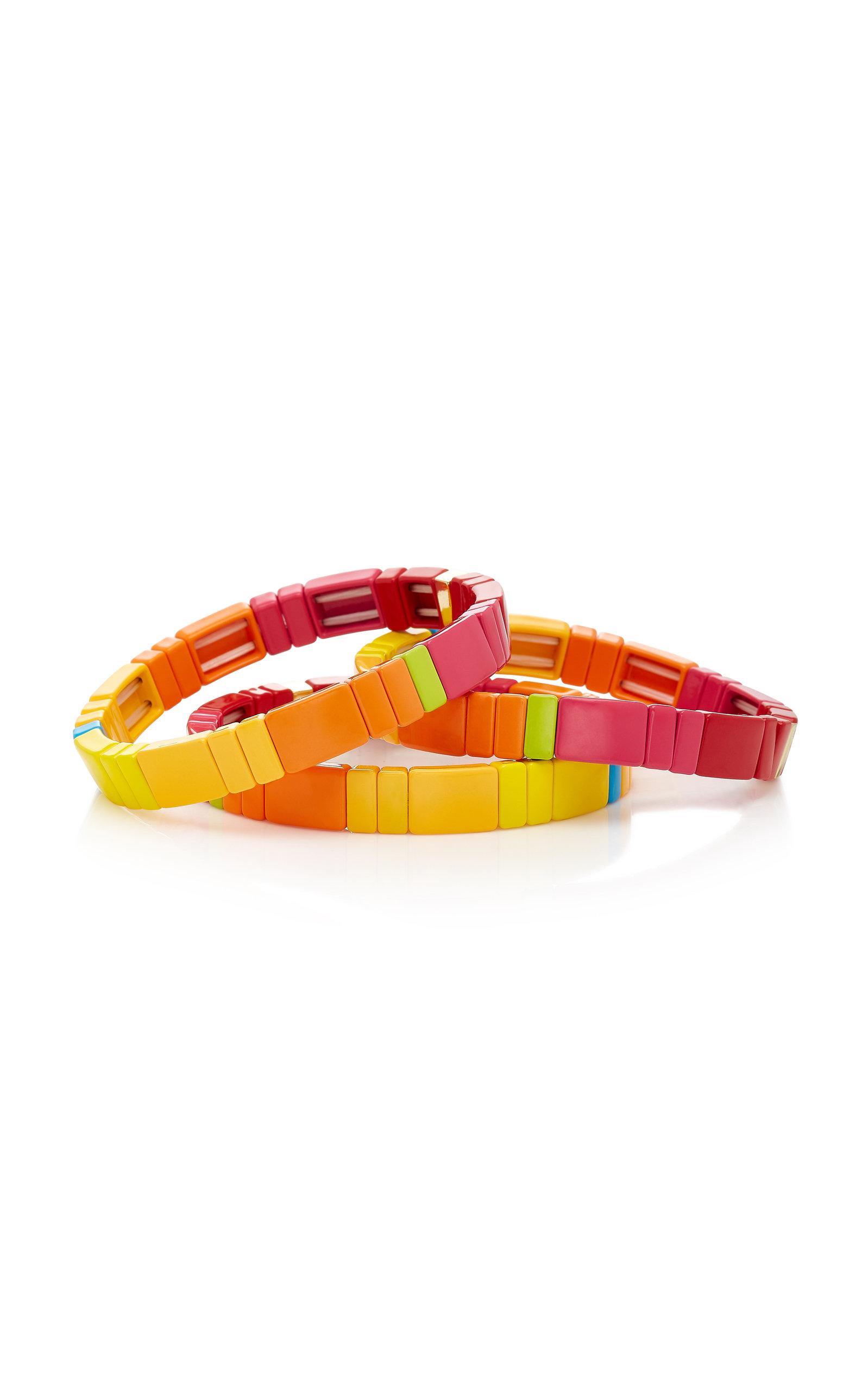 Set of Three Starburst Block Party Enamel Bracelets Roxanne Assoulin nx3N2vfE