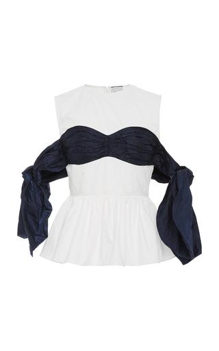 EDIT | EDIT Tied Cold-Shoulder Cotton-Poplin Top | Goxip
