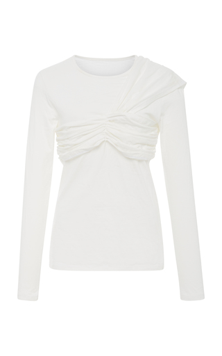 EDIT   EDIT Ruched Cotton-Jersey Top   Goxip