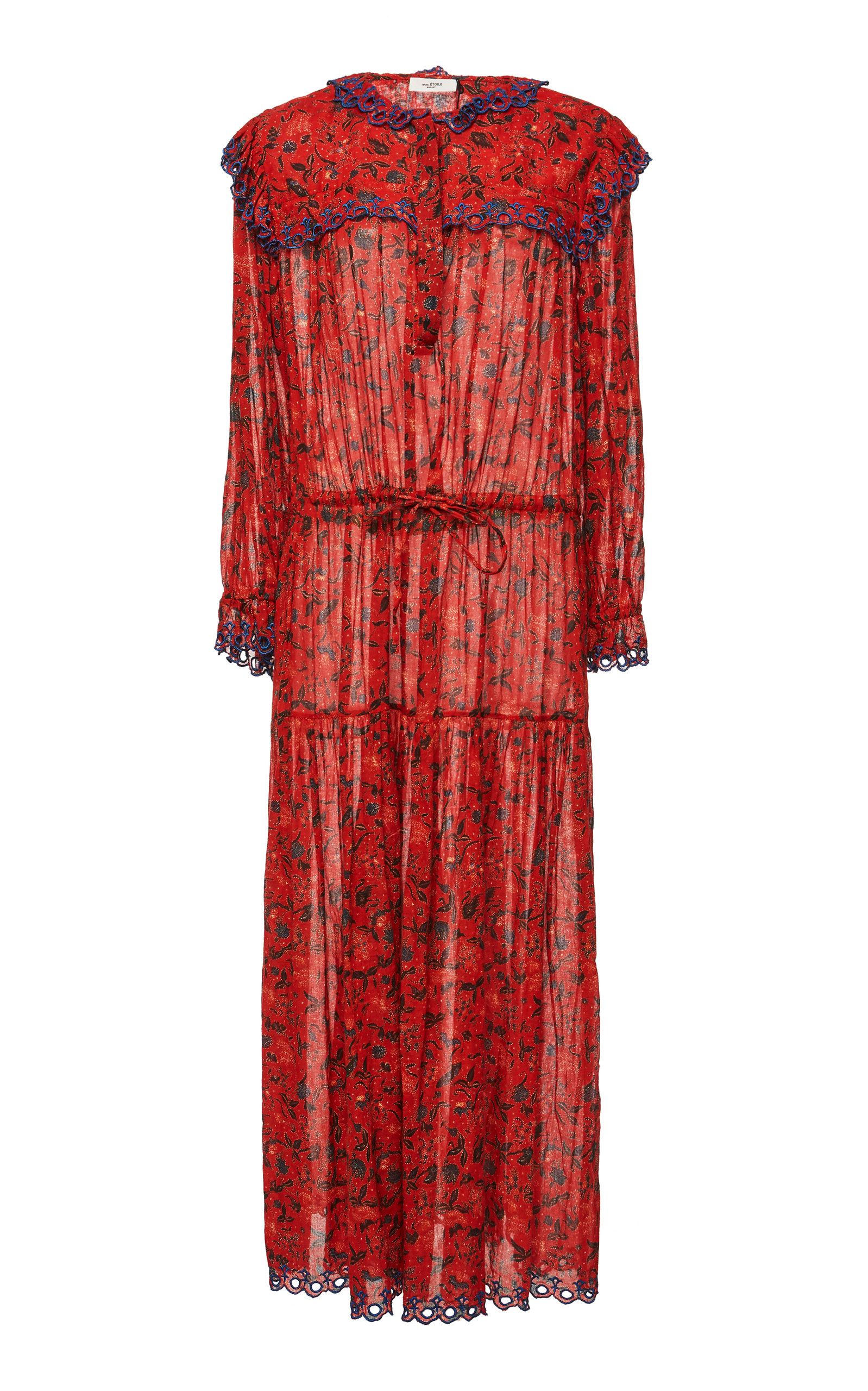 Isabel Marant Étoile - Eina Embroidered Floral Print Midi Dress - Womens - Red