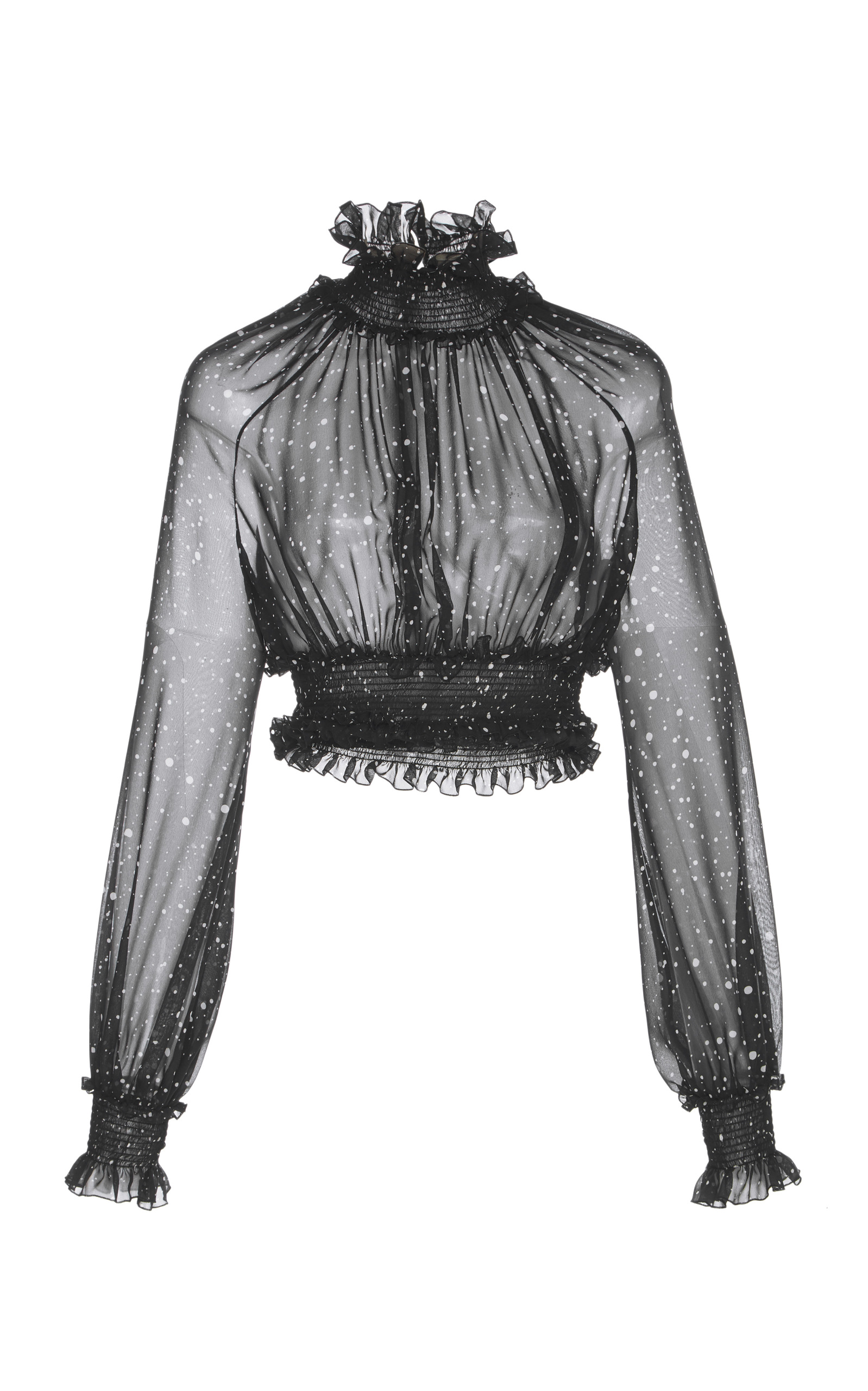 SHEER RUCHED HIGH NECK CROPPED BLOUSE
