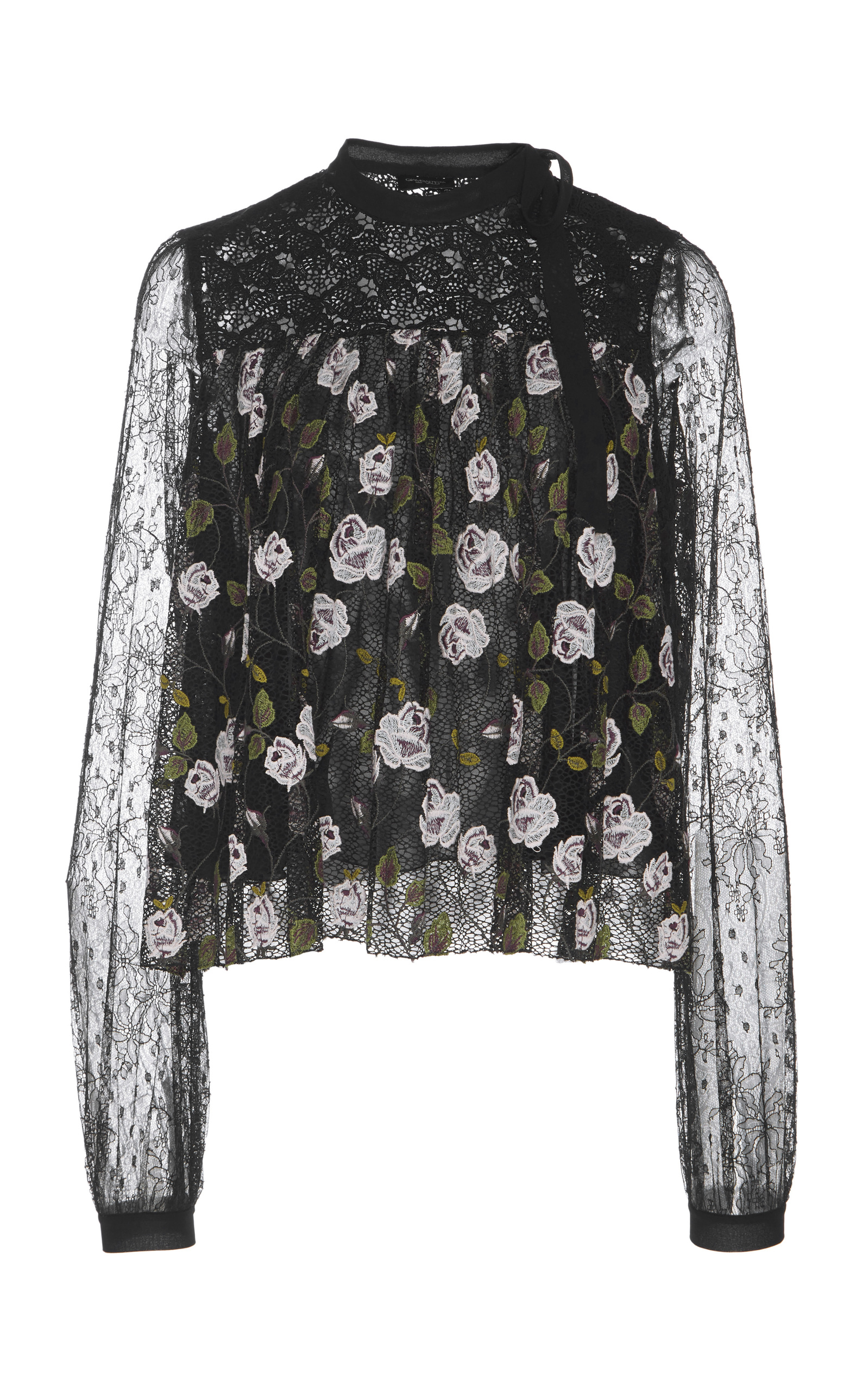 High-Neck Long-Sleeve Floral-Print Lace Swing Blouse in Black