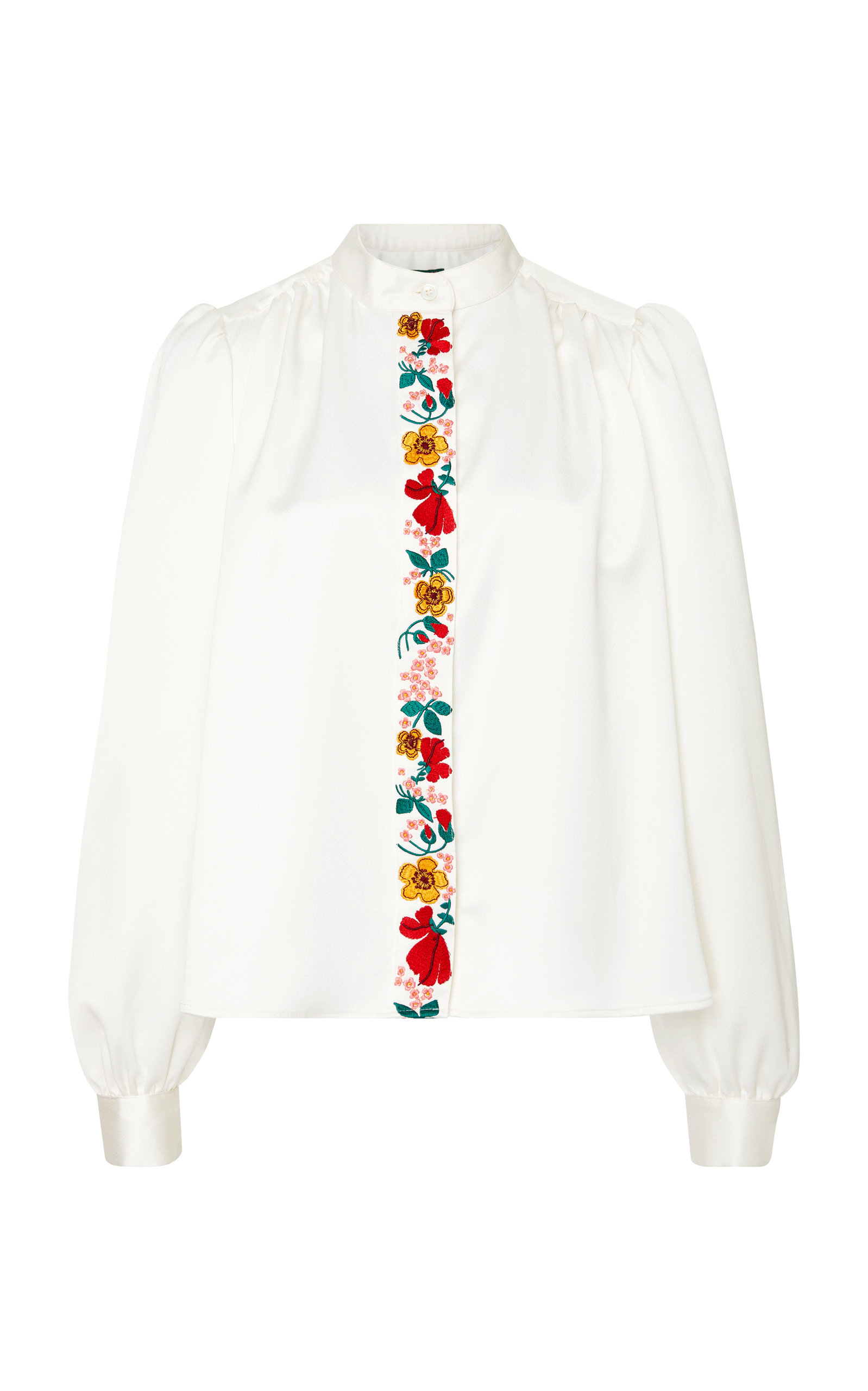 Embroidered Crepe De Chine Blouse in Ivory
