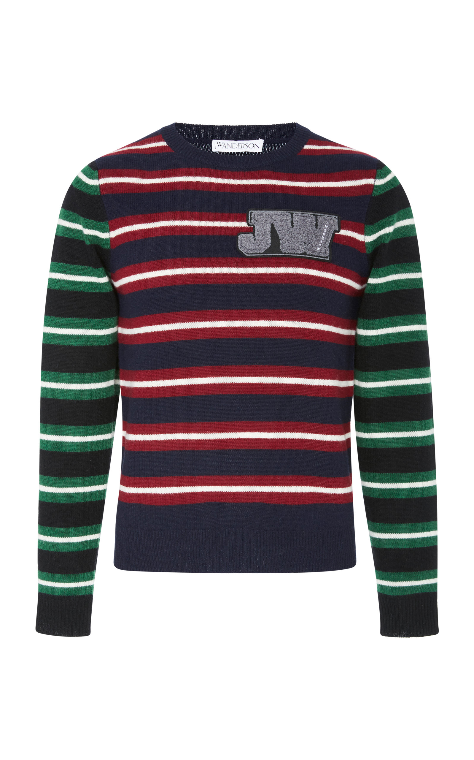 embroidered Sweater Striped anderson J w Logo Wool AaPwRxzq