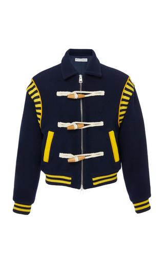 JW ANDERSON | JW Anderson Toggle-Embellished Wool-Felt Varsity Jacket | Goxip