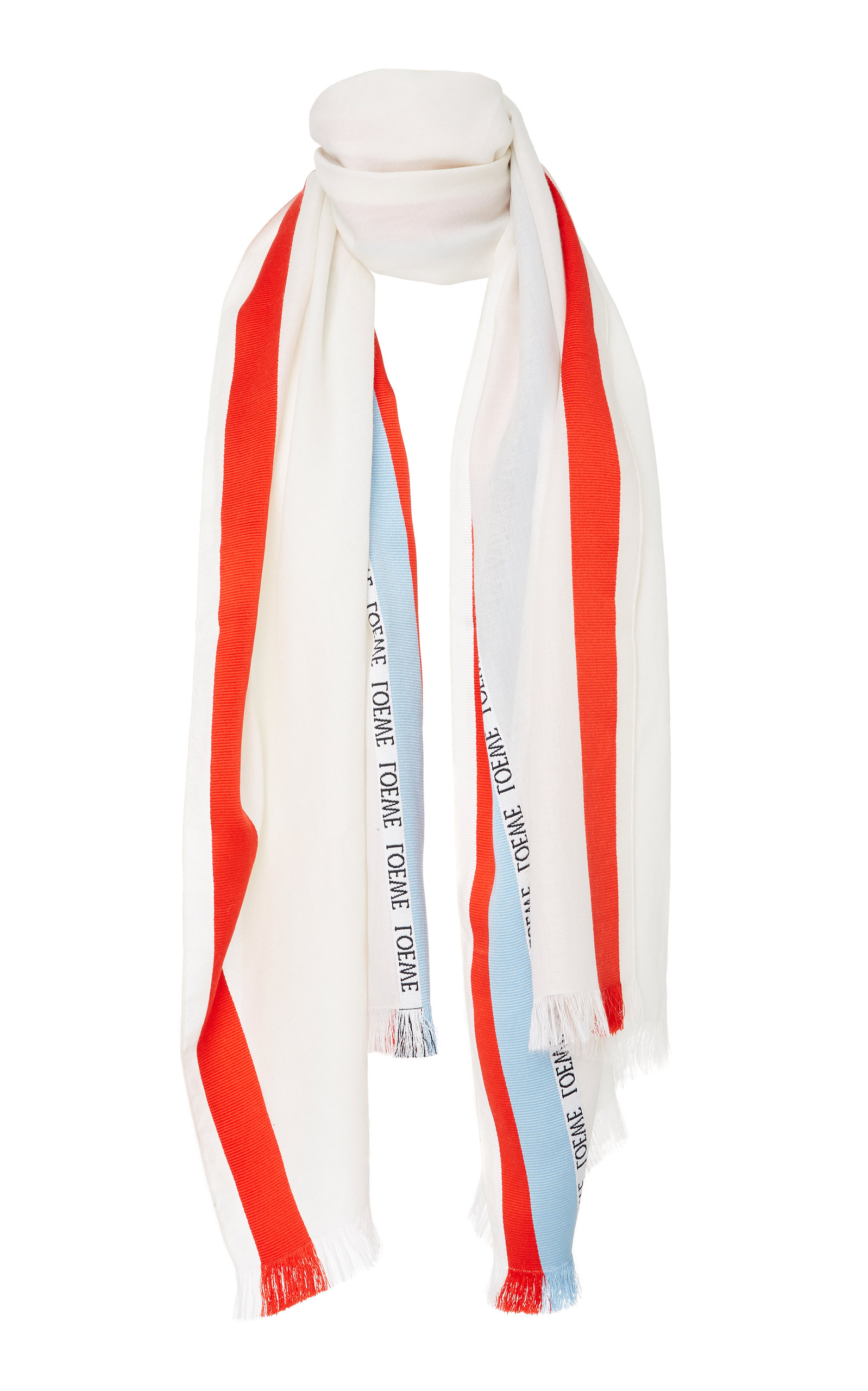 LOEWE Striped Cashmere Wool And Silk-Blend Scarf, White