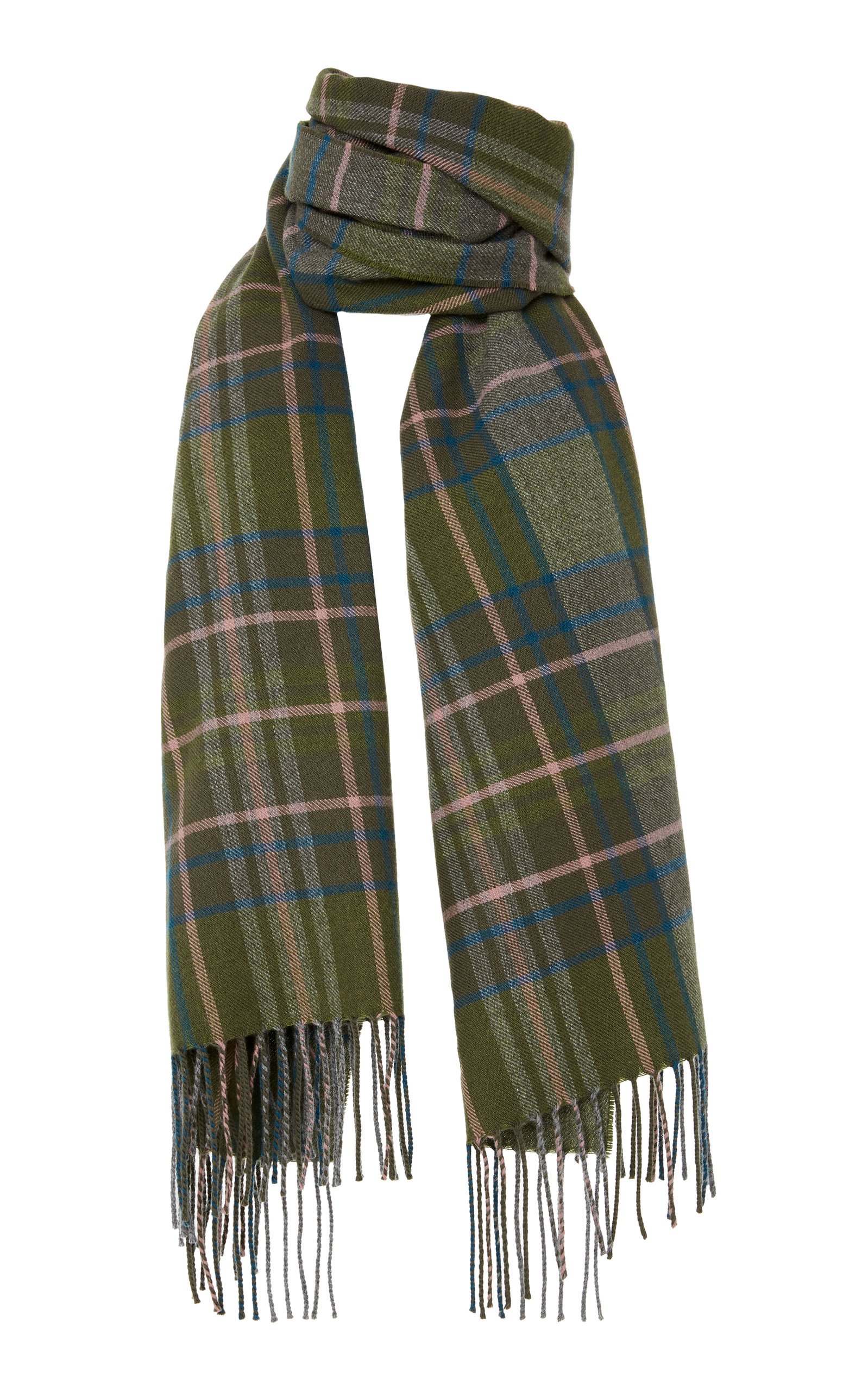 LOEWE Checked Cashmere And Wool-Blend Scarf, Green