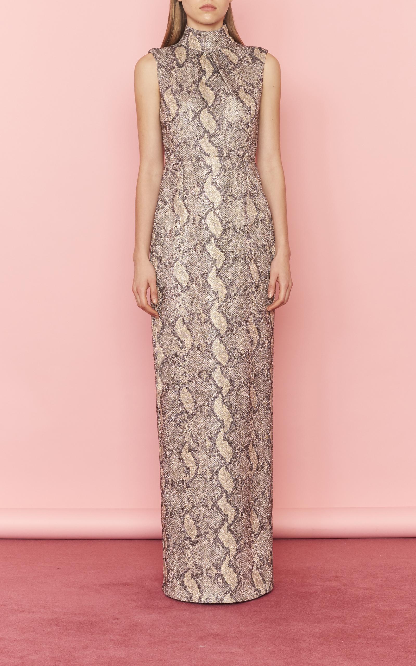 Georgina Snake-Effect Crepe Gown Emilia Wickstead 6FQ6rm7