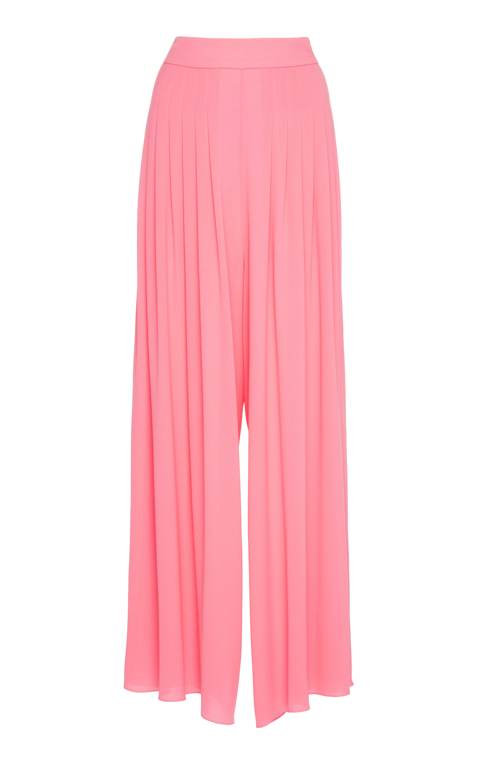 CARLA PLEATED JERSEY-CREPE TROUSERS