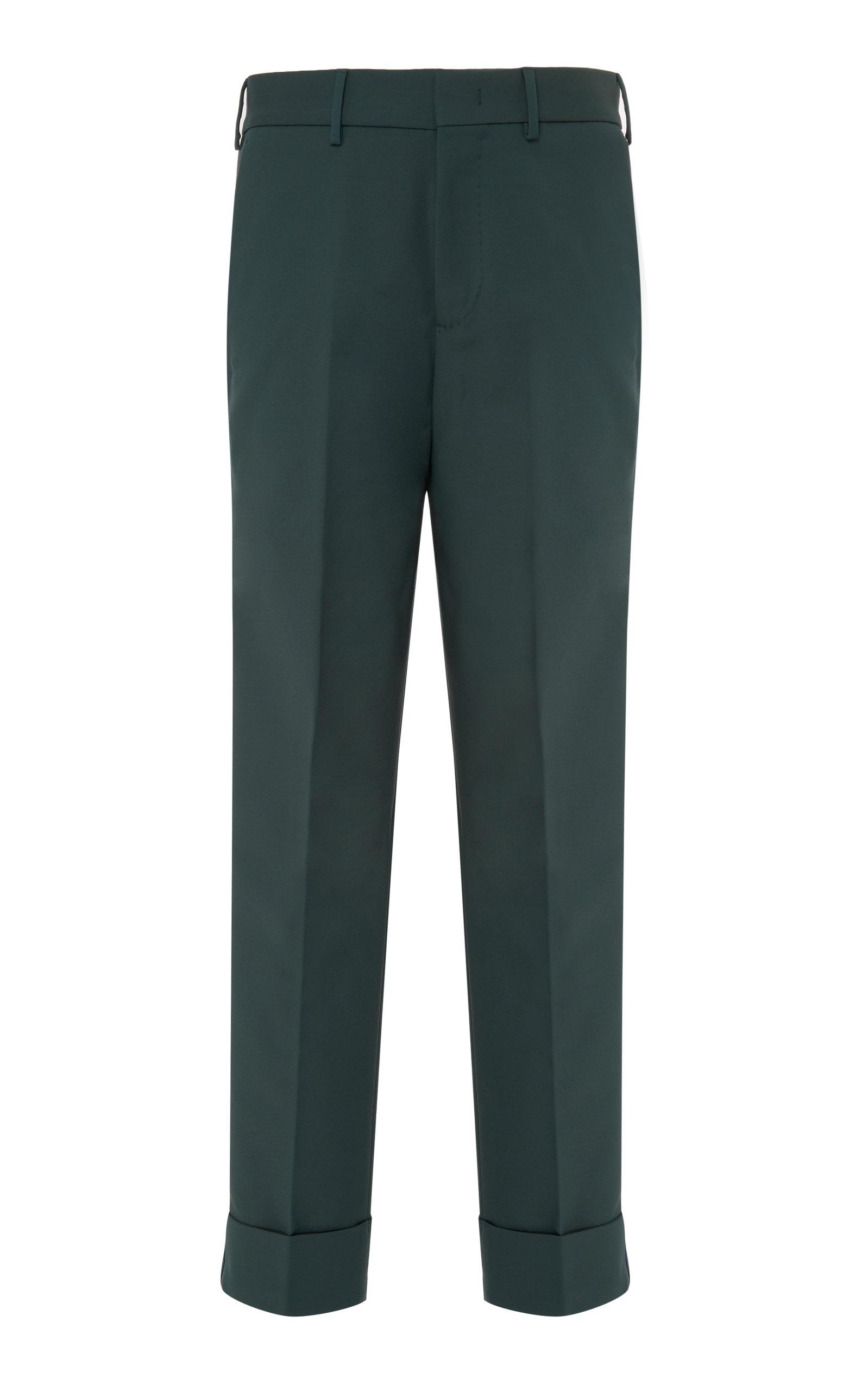 PT FORWARD Side Stripe Cotton-Blend Pants in Green
