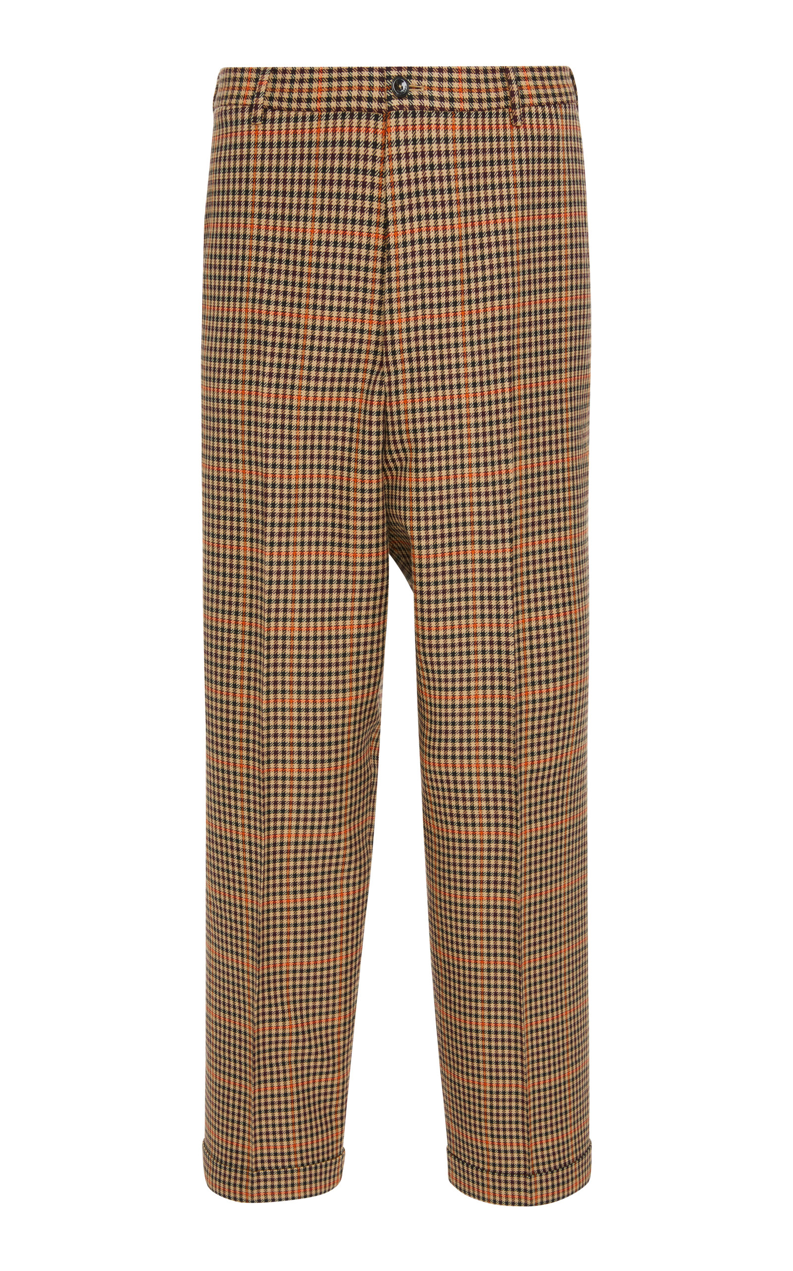 PT FORWARD Checked Wool-Blend Straight-Leg Pants in Plaid