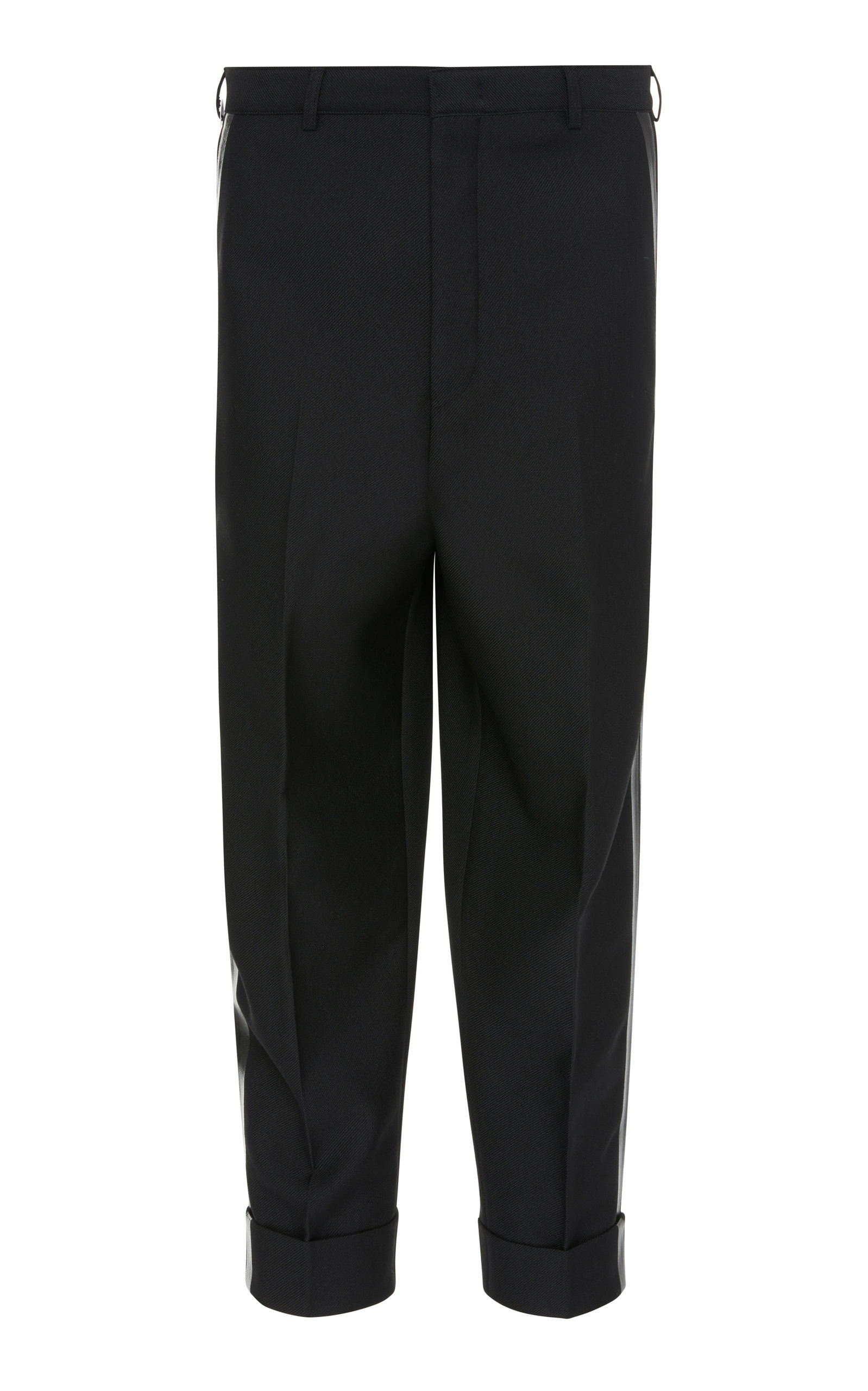 PT FORWARD Striped Twill Straight-Leg Pants in Black