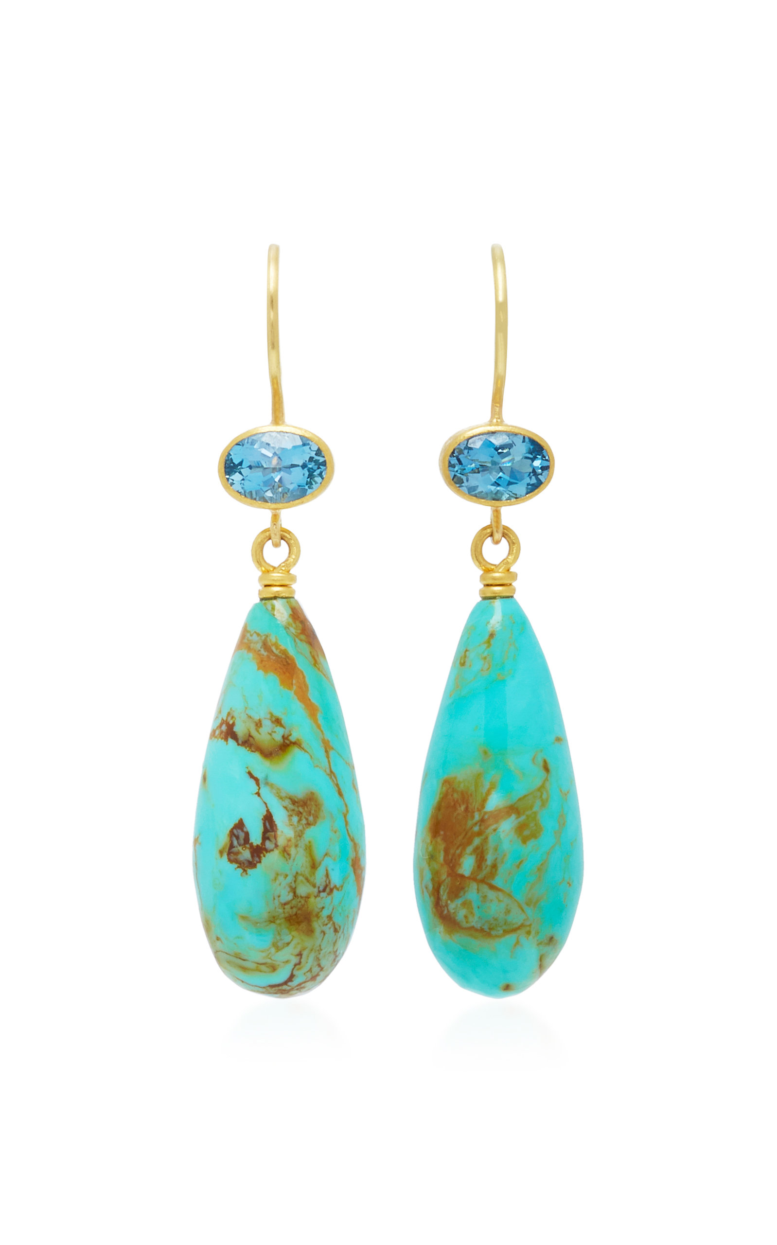 MALLARY MARKS APPLE & EVE 18K GOLD AQUAMARINE AND TURQUOISE EARRINGS