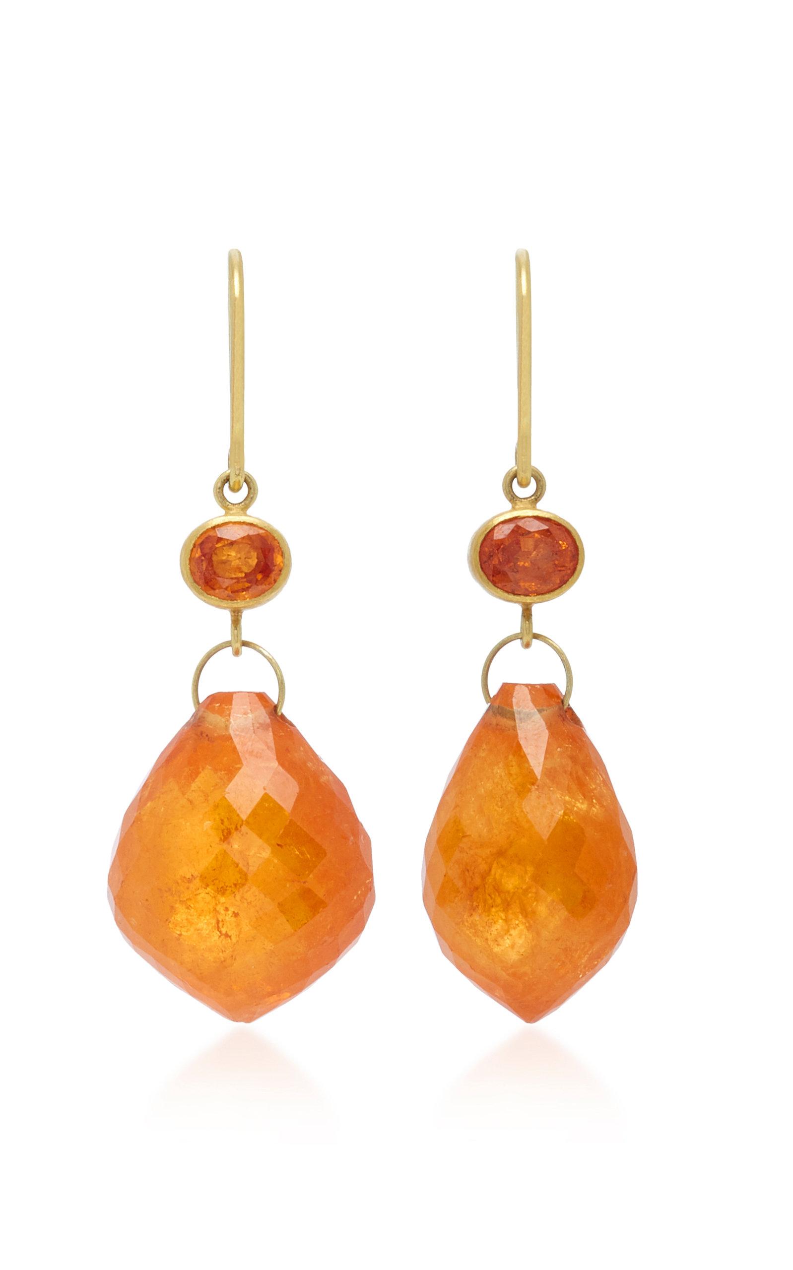 MALLARY MARKS Apple & Eve 18K Gold Sapphire And Briolette Earrings in Orange