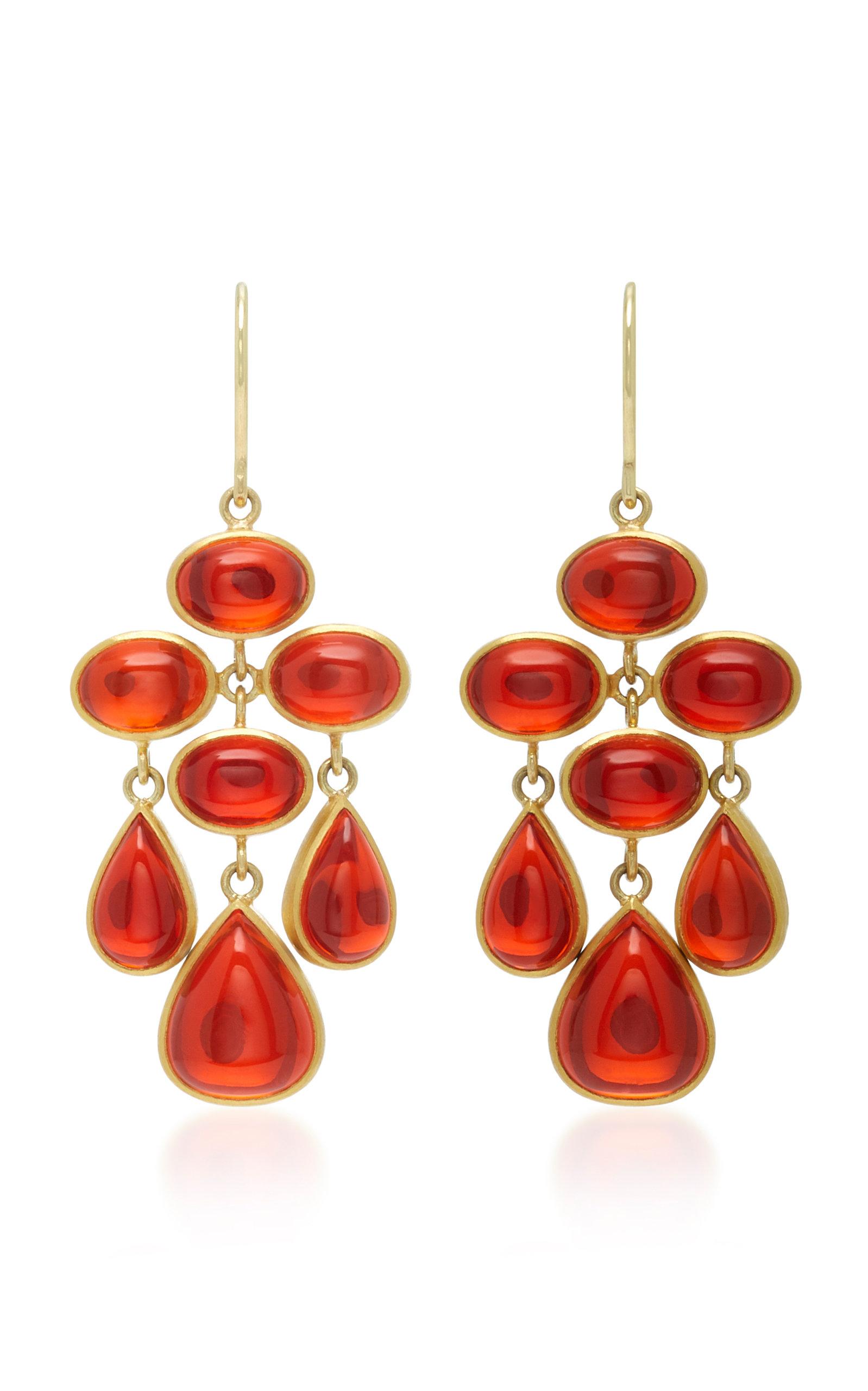Mallary Marks Tze 18k Gold Cabochon Fire Opal Earrings In Orange