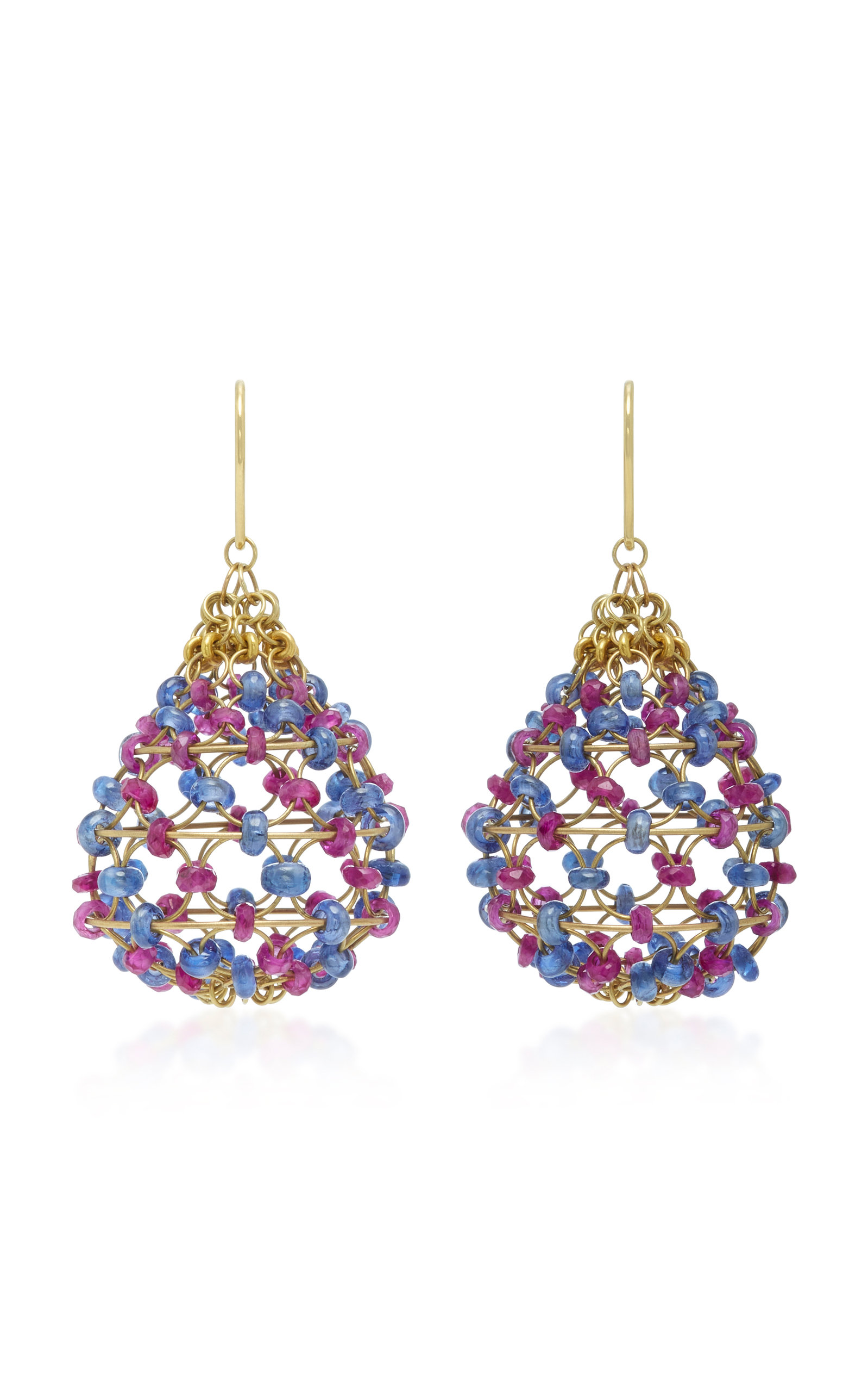 Russian Dome 18K Gold, Ruby and Cabochon Sapphire Beaded Earrings