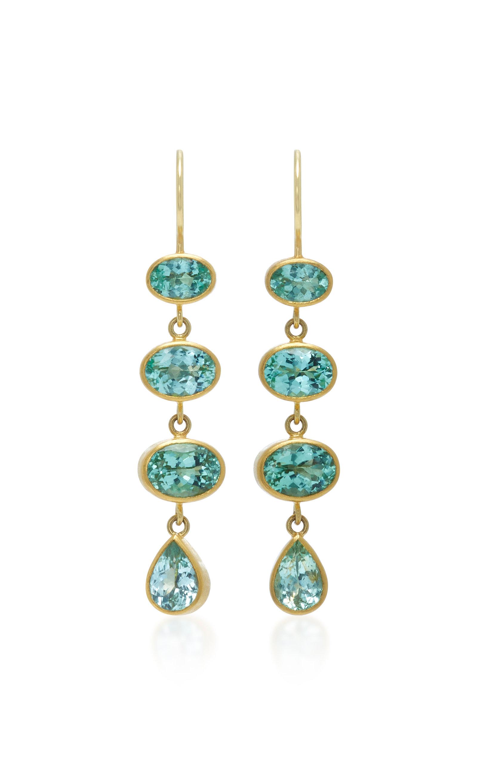 MALLARY MARKS 18K Gold Green Paraiba Earrings in Blue