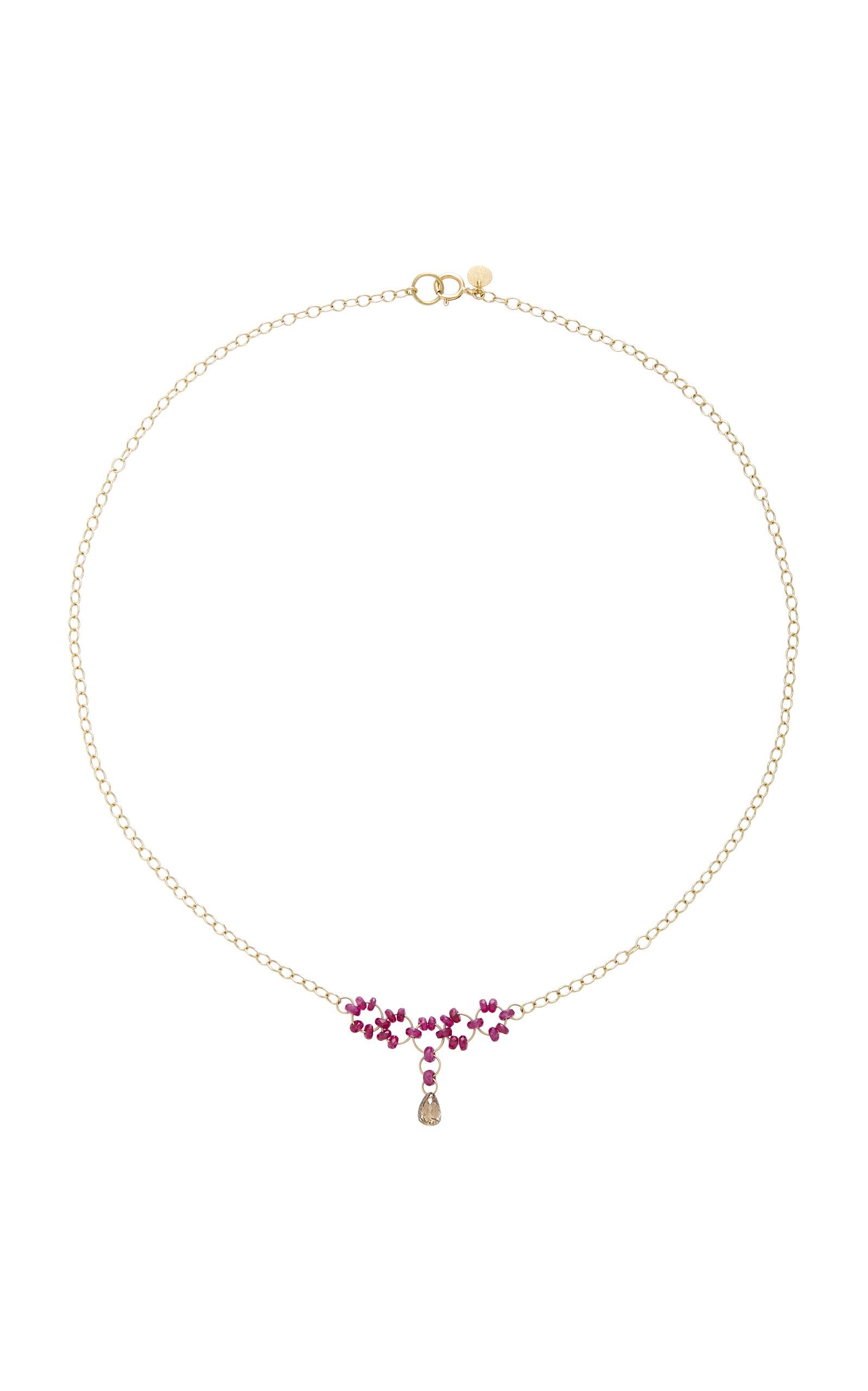 Petite Trestle 18K Gold Ruby and Diamond Briollete Necklace Mallary Marks niZA8GUD