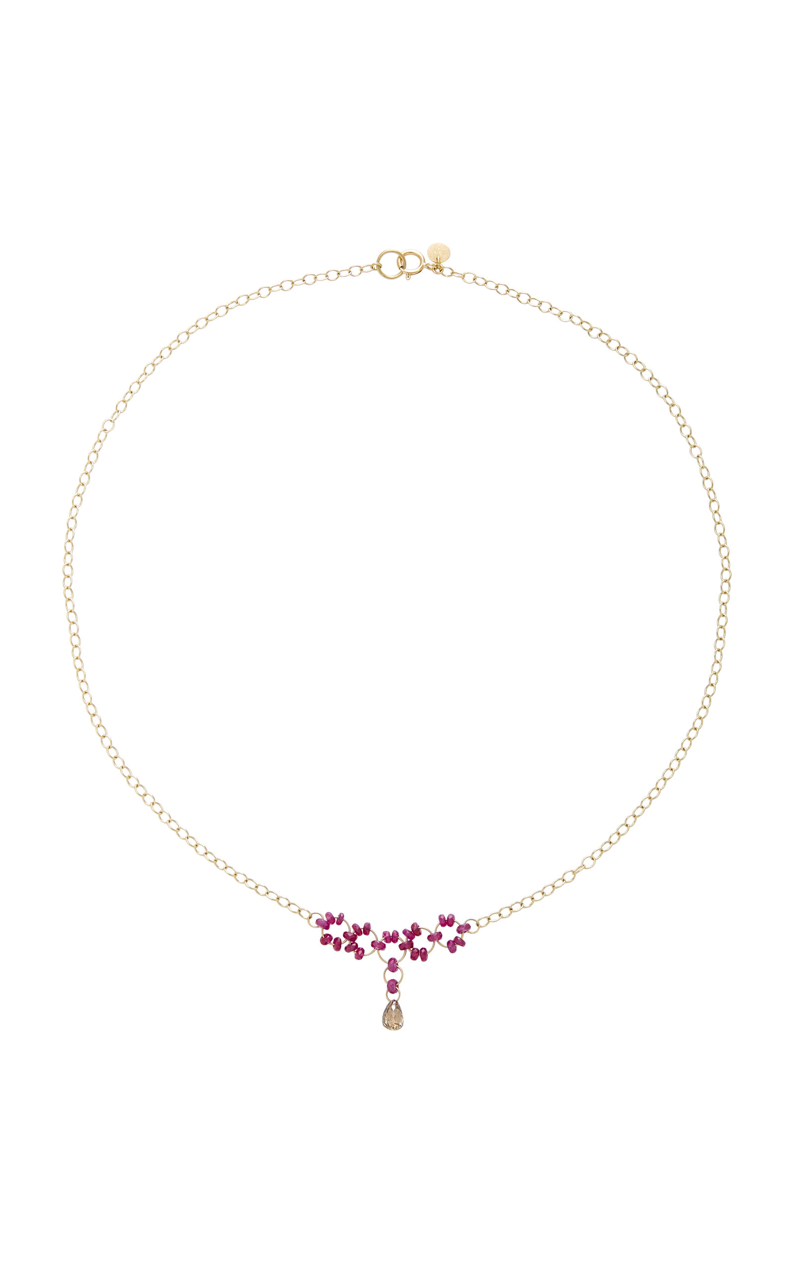 MALLARY MARKS Petite Trestle 18K Gold Ruby And Diamond Briollete Necklace in Pink