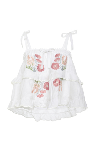 Innika Choo Cropped Tiered Cotton-Voile Top